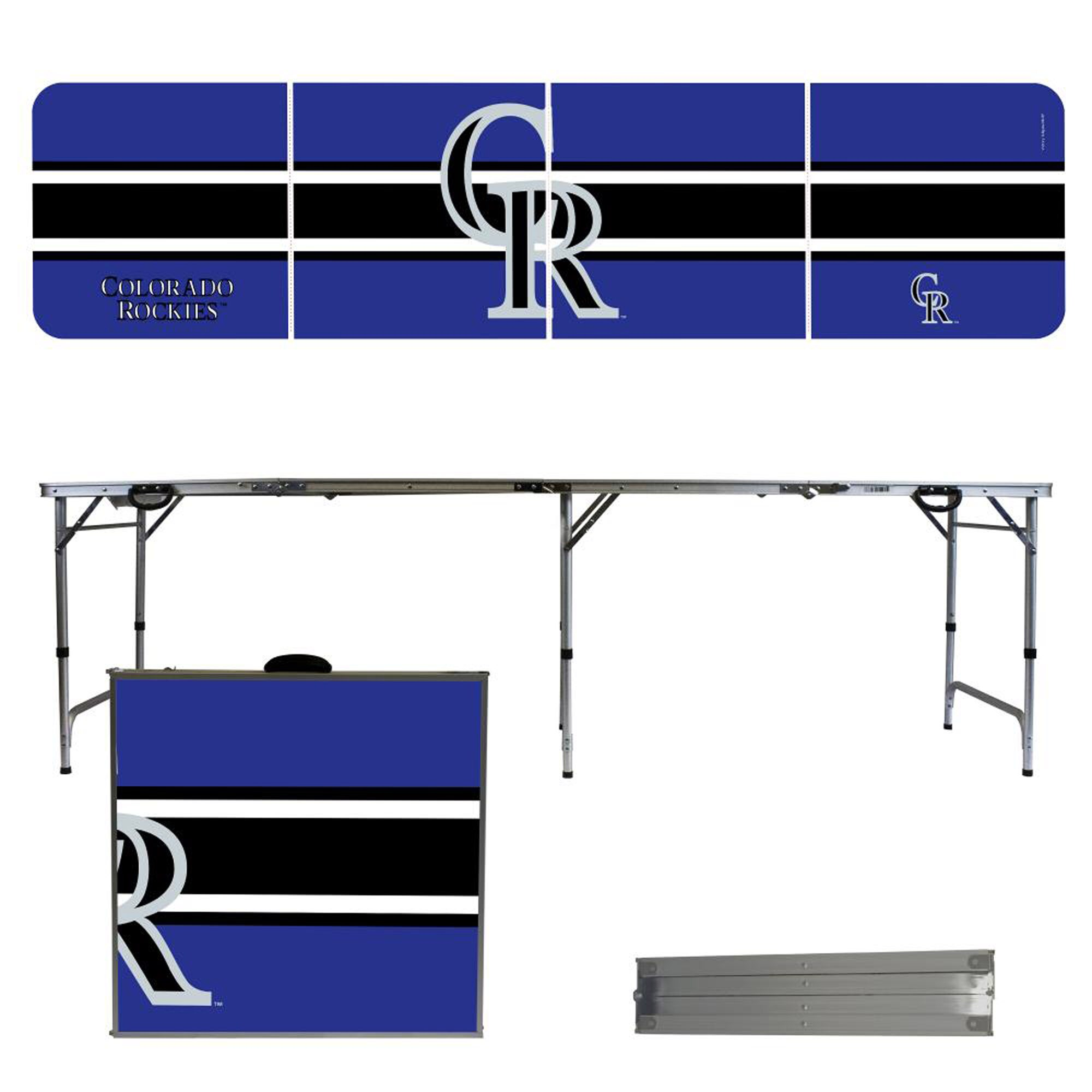 Colorado Rockies Striped Design 8' Portable Folding Tailgate Table
