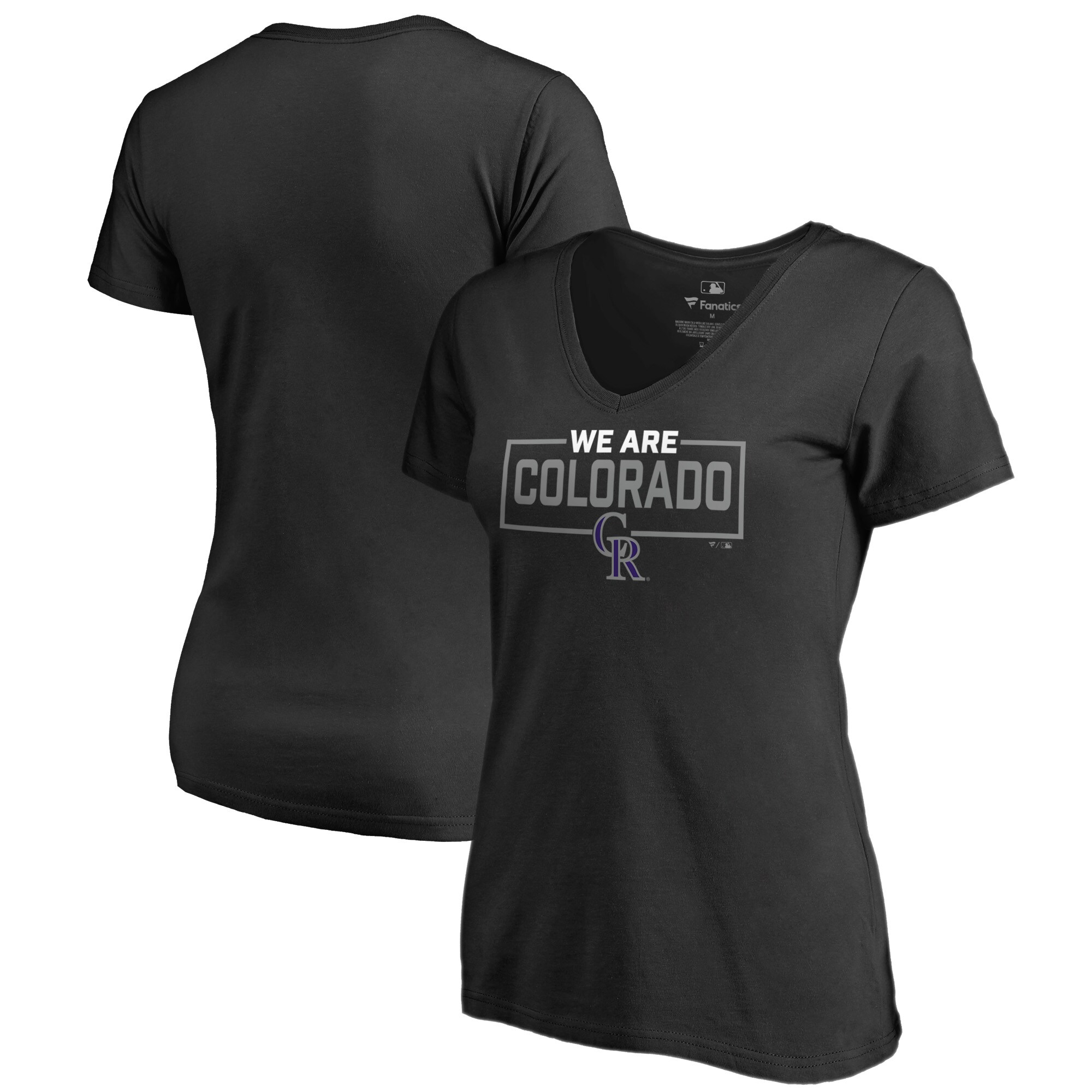 Colorado Rockies Fanatics Branded Women's We Are Icon V-Neck T-Shirt - Black