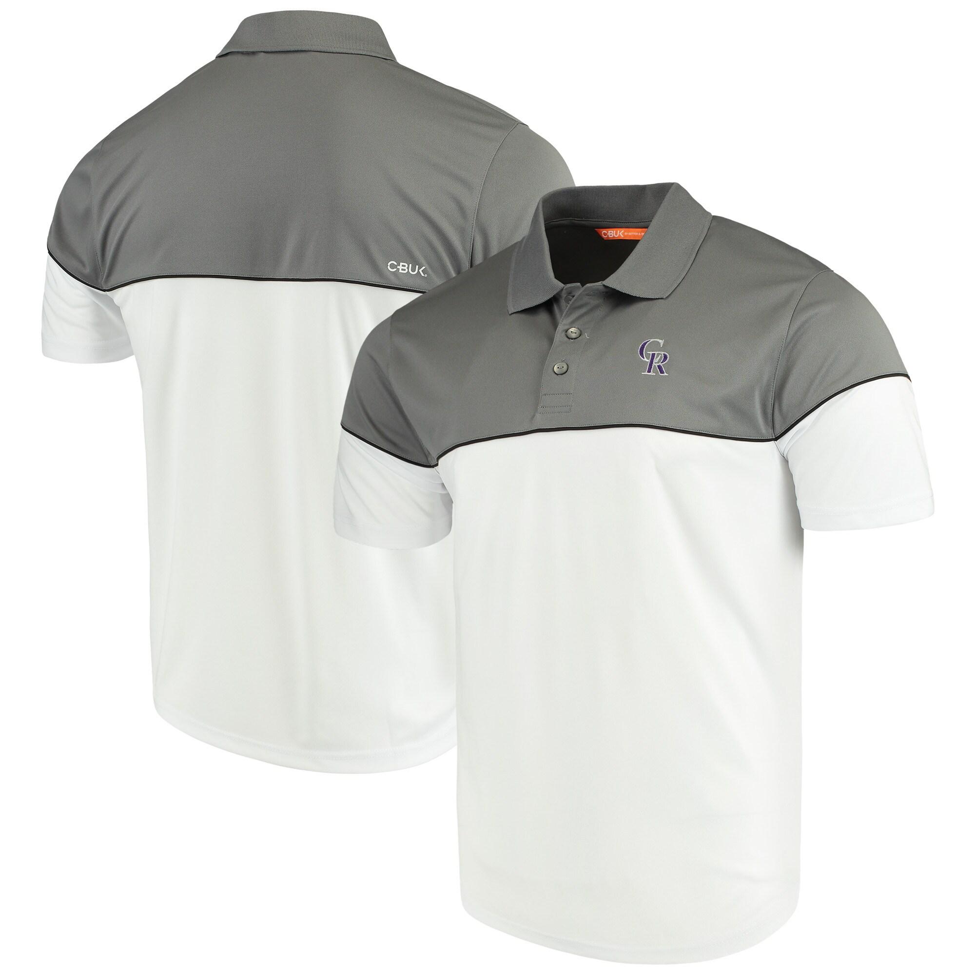 Colorado Rockies Cutter & Buck Harrington Polo - Black/White