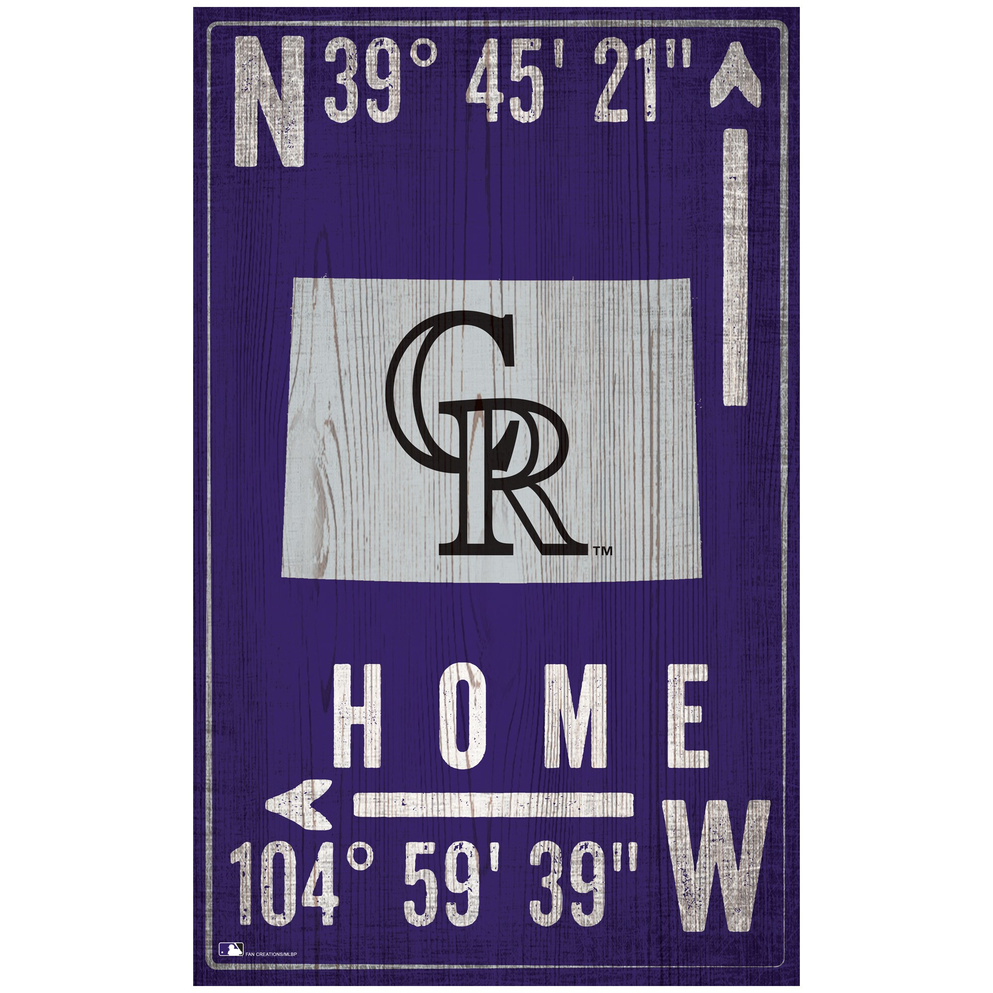 "Colorado Rockies 11"" x 19"" Coordinate Sign"