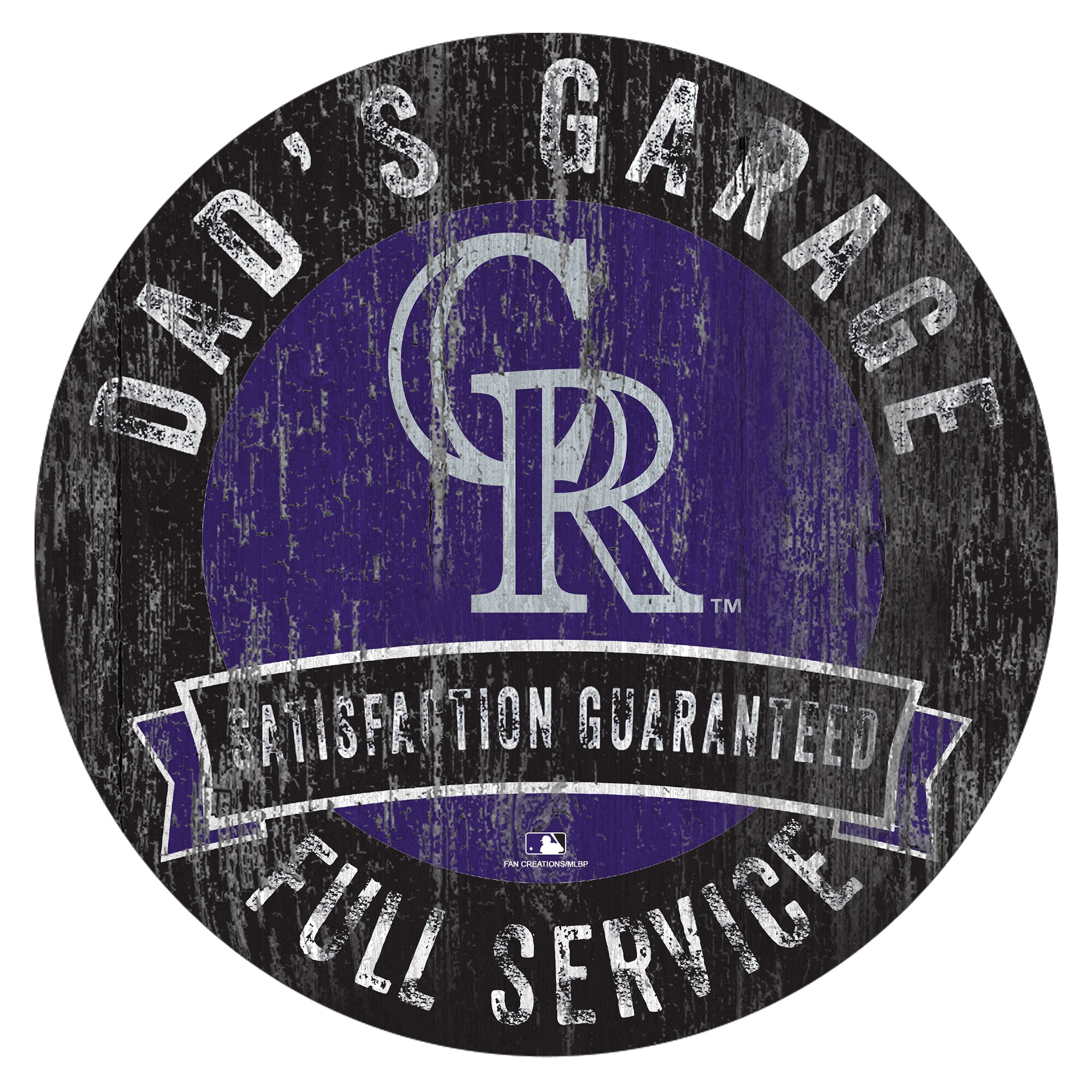 "Colorado Rockies 12"" x 12"" Dad's Garage Sign"