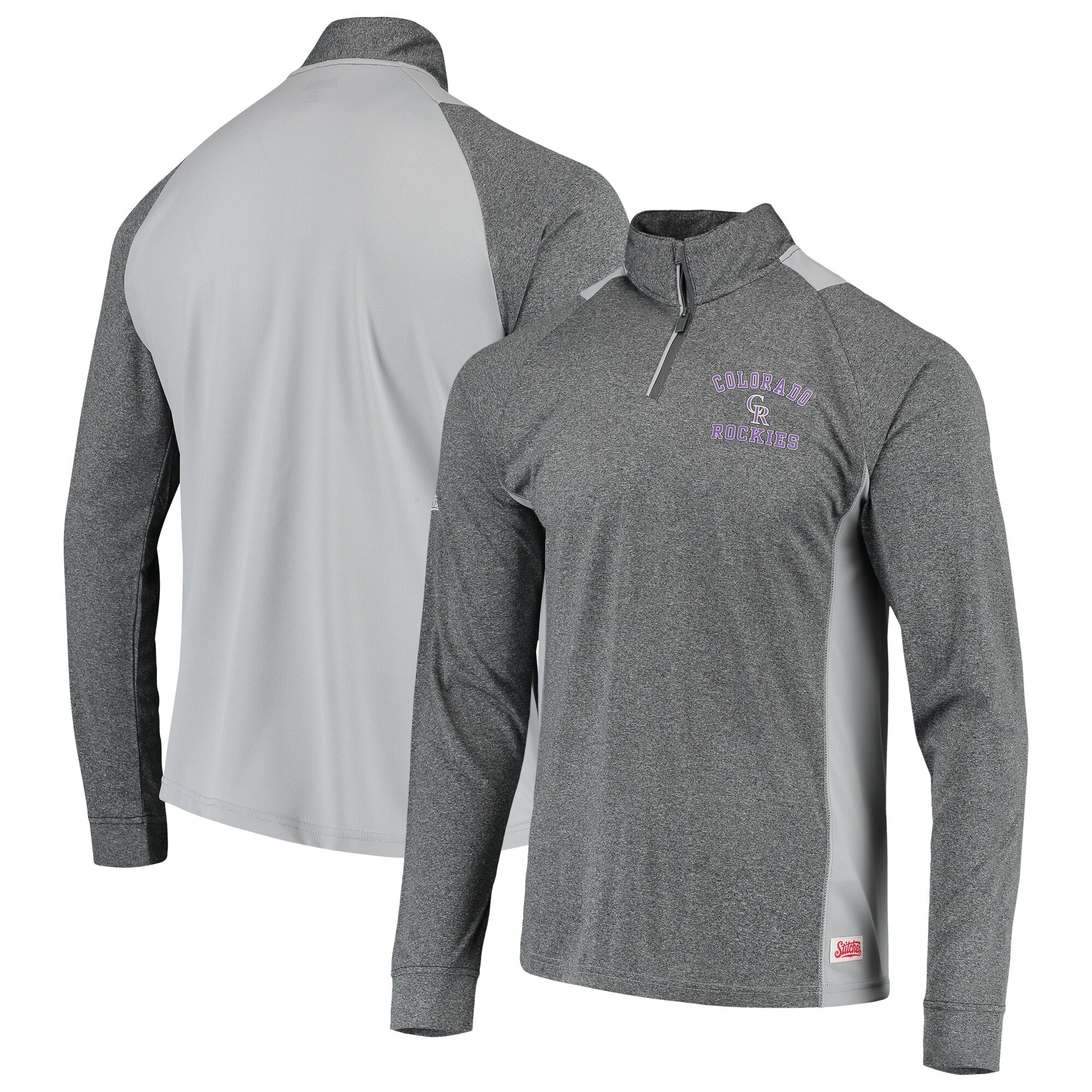 Colorado Rockies Stitches Raglan Sleeve Quarter-Zip Pullover Jacket - Heathered Charcoal/Gray