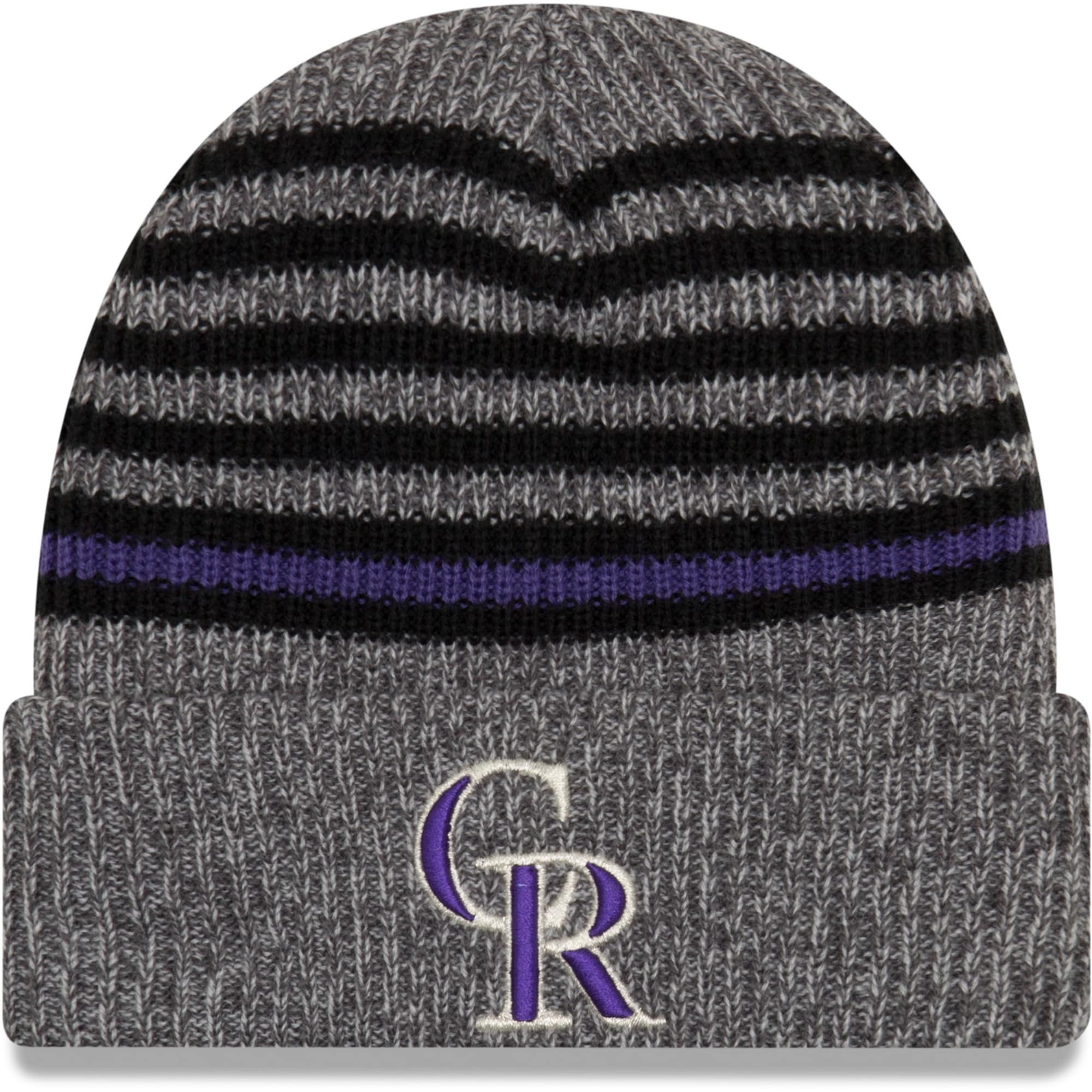 Colorado Rockies New Era Stripe Strong Cuffed Knit Hat - Gray