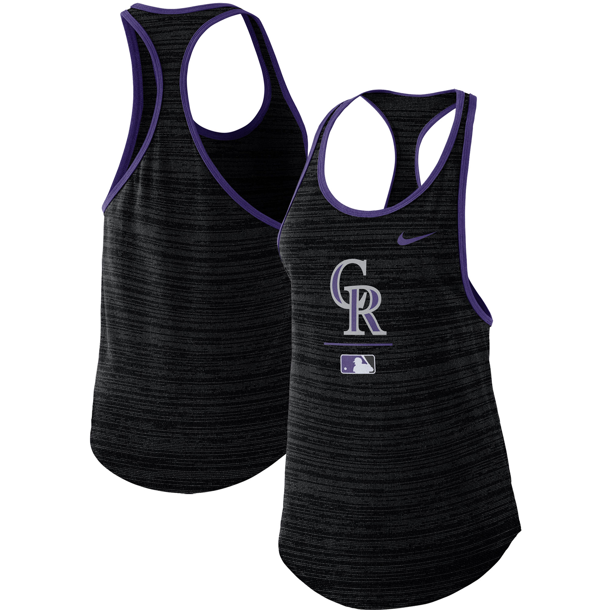 Colorado Rockies Nike Women's Authentic Collection Velocity Team Issue Racerback Tank Top - Black
