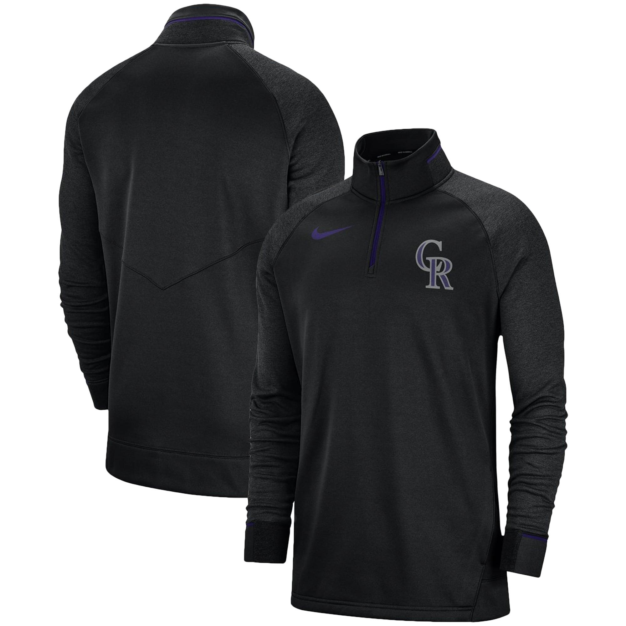 Colorado Rockies Nike Elite Game Performance Raglan Sleeve Quarter-Zip Pullover Jacket - Black
