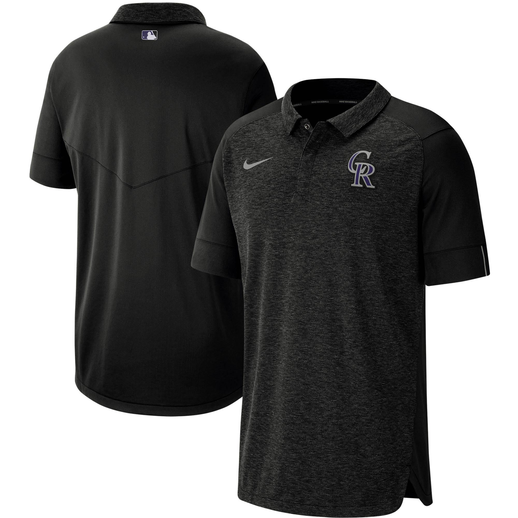 Colorado Rockies Nike Authentic Collection Team Logo Elite Polo - Black