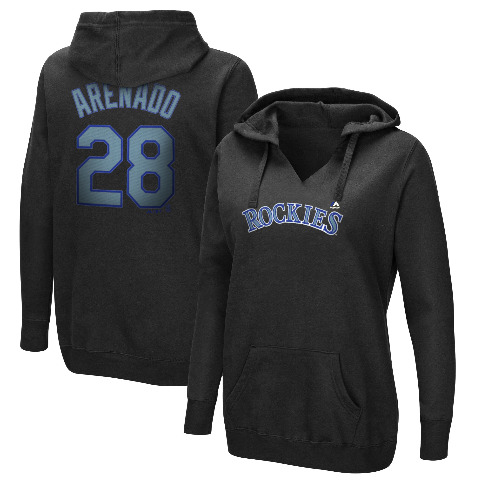 Nolan Arenado Colorado Rockies Majestic Women's Authentic Name & Number Pullover Hoodie - Black