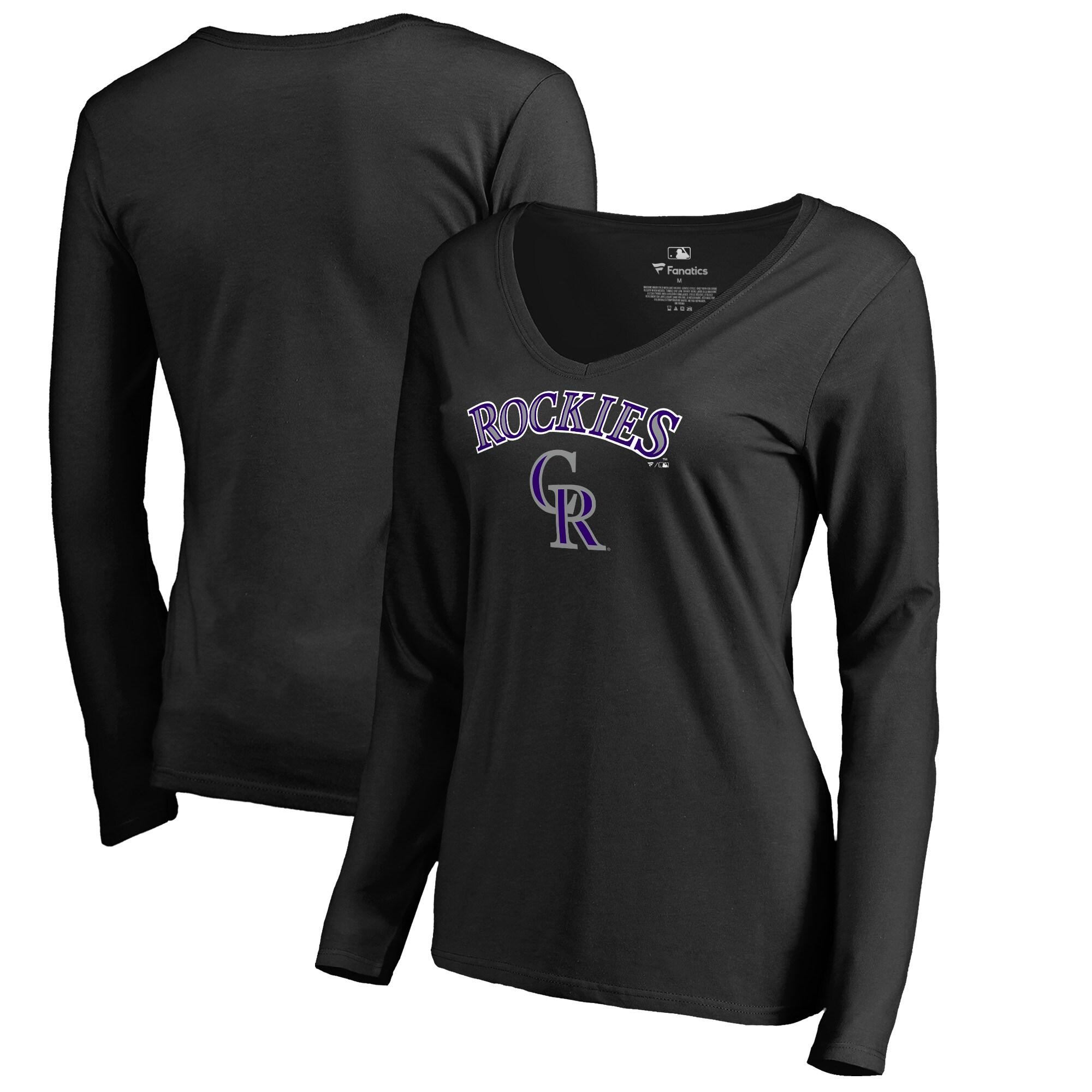 Colorado Rockies Fanatics Branded Women's Team Lockup Slim Fit Long Sleeve V-Neck T-Shirt - Black
