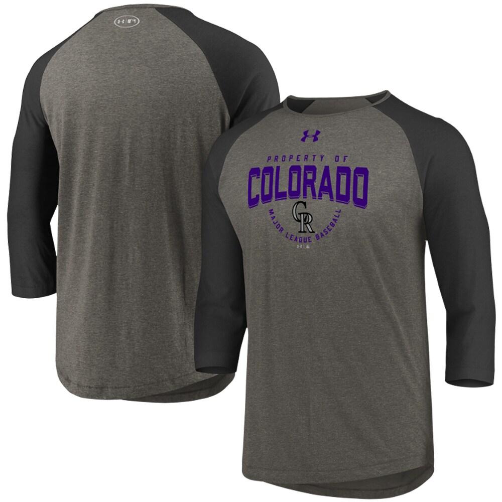 Colorado Rockies Under Armour Tri-Blend Raglan 3/4-Sleeve Performance T-Shirt - Gray/Black