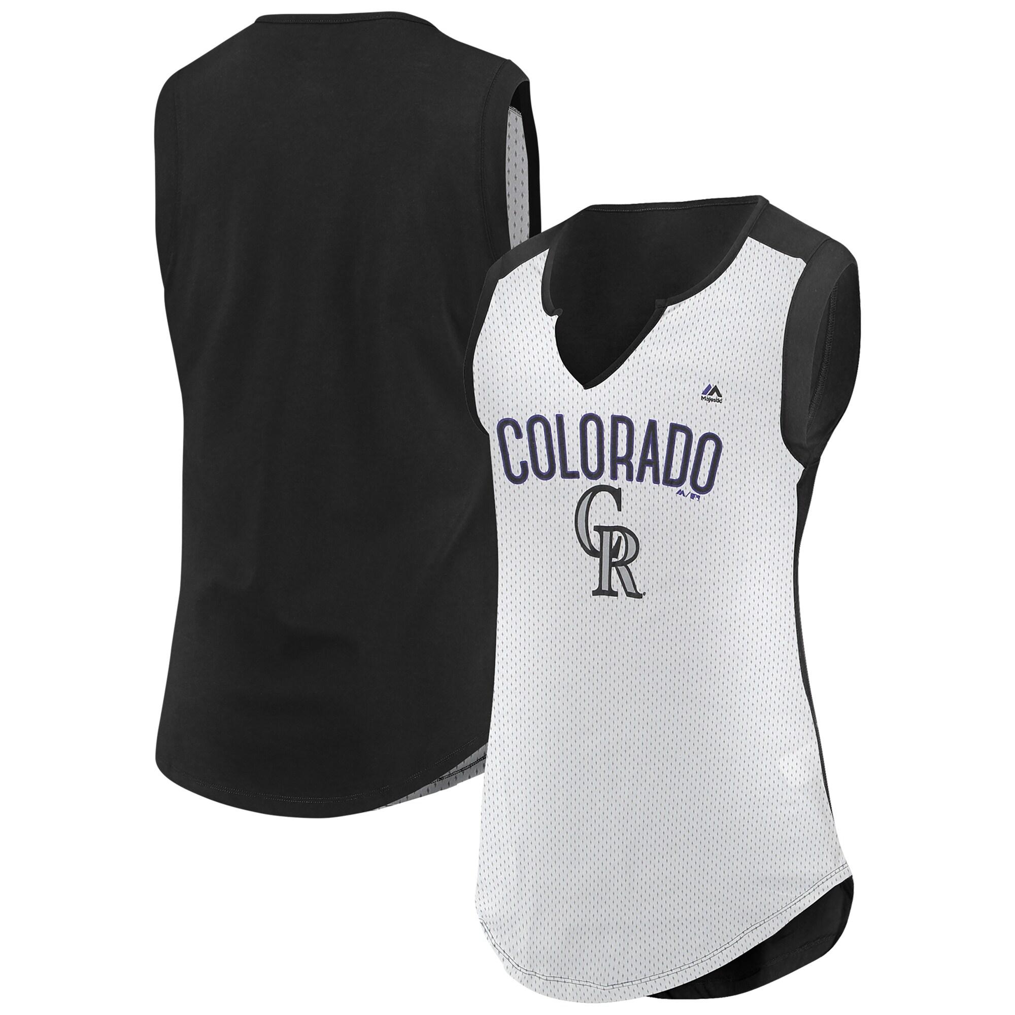 Colorado Rockies Majestic Women's Decisive Battle Muscle T-Shirt - White