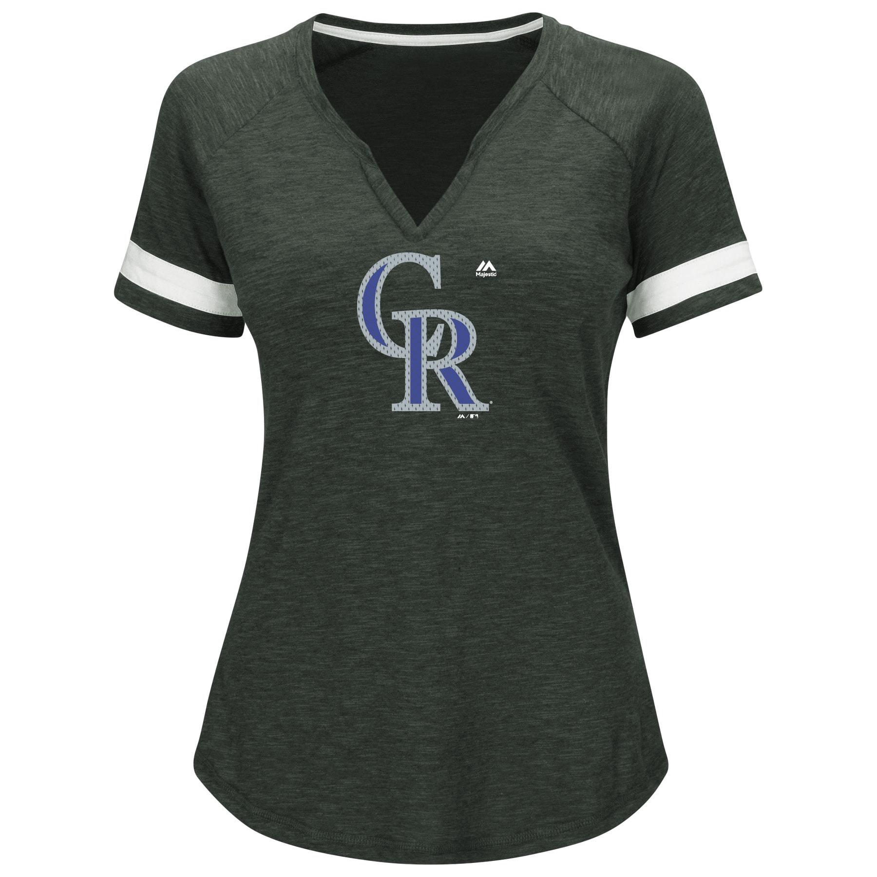 Colorado Rockies Majestic Women's Game Stopper Raglan T-Shirt - Heathered Charcoal
