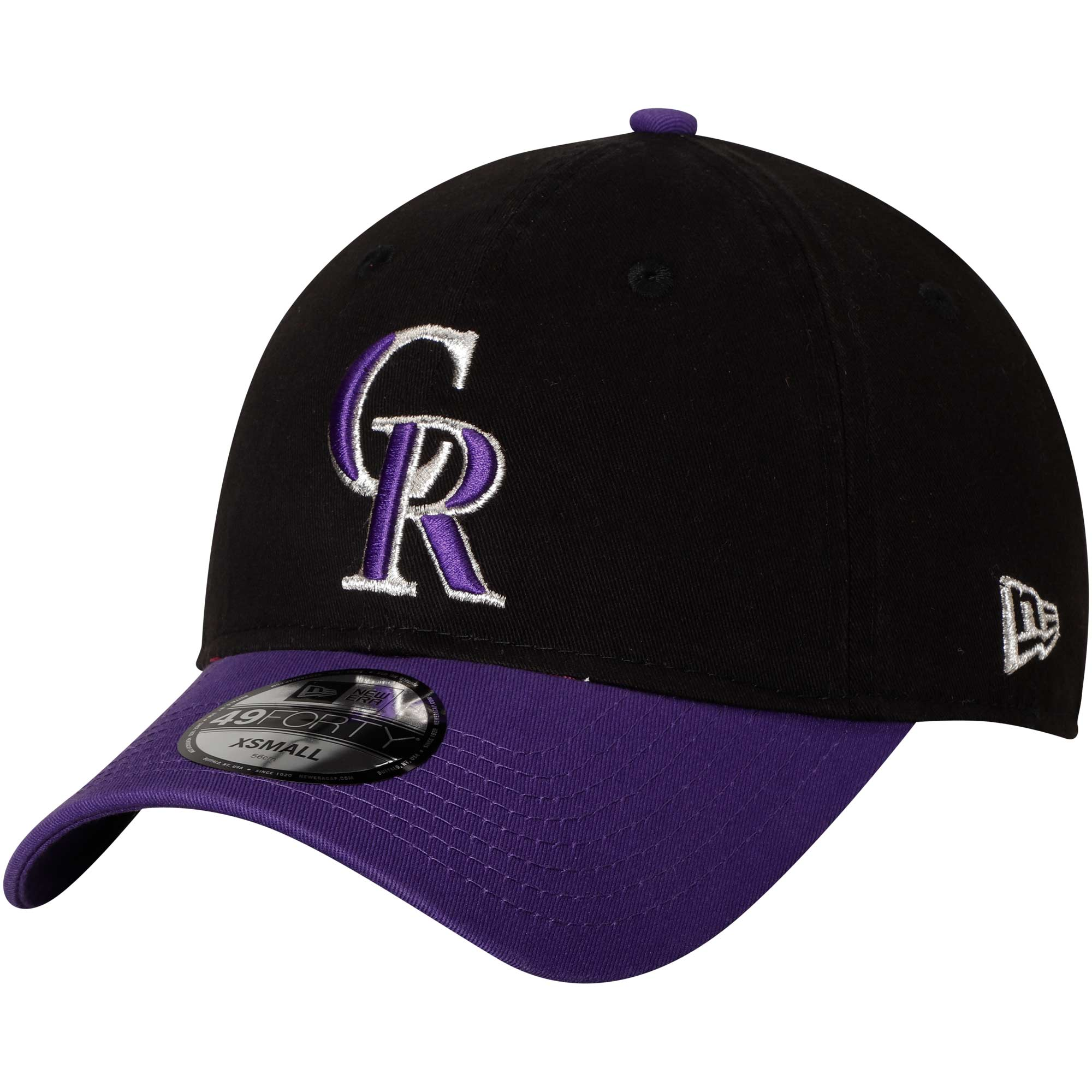 Colorado Rockies New Era Core Fit Replica 49FORTY Fitted Hat - Black/Purple