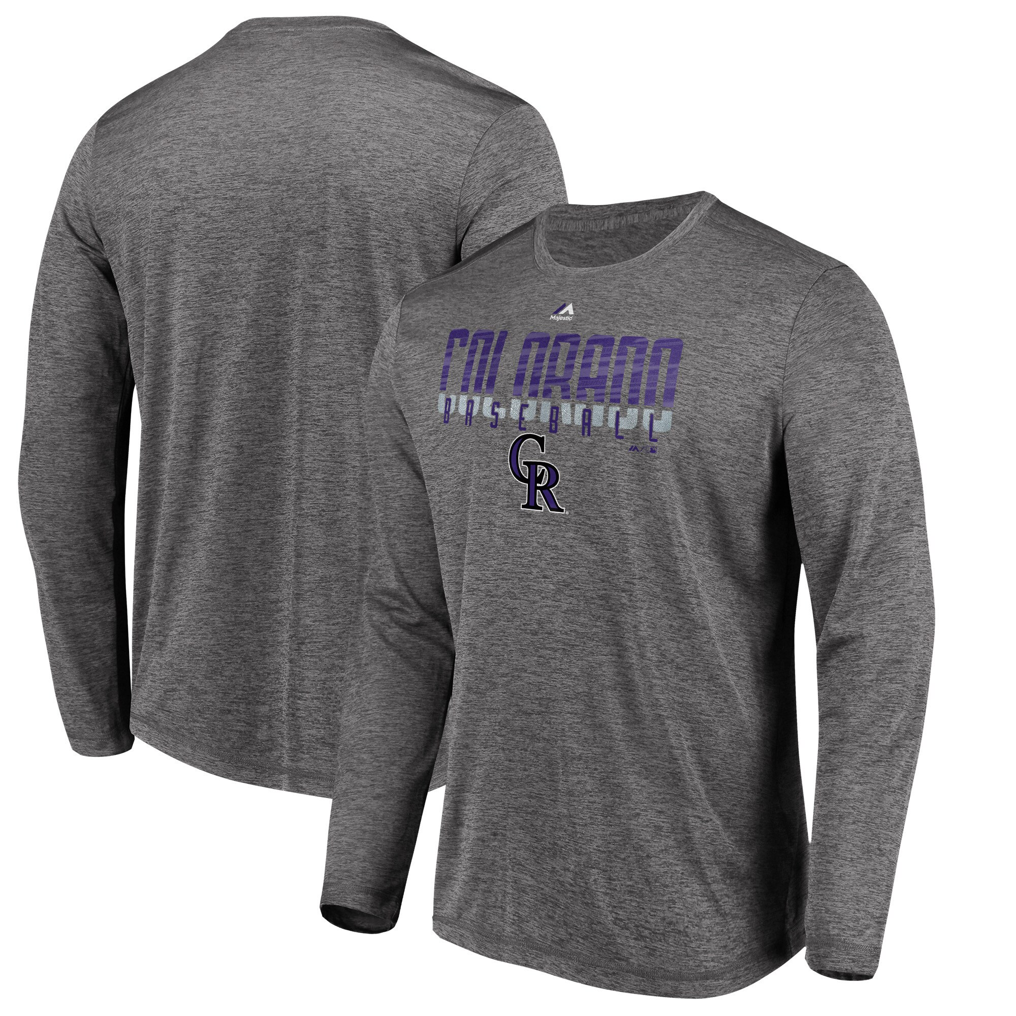 Colorado Rockies Majestic Unstoppable Force Long Sleeve Cool Base T-Shirt - Charcoal