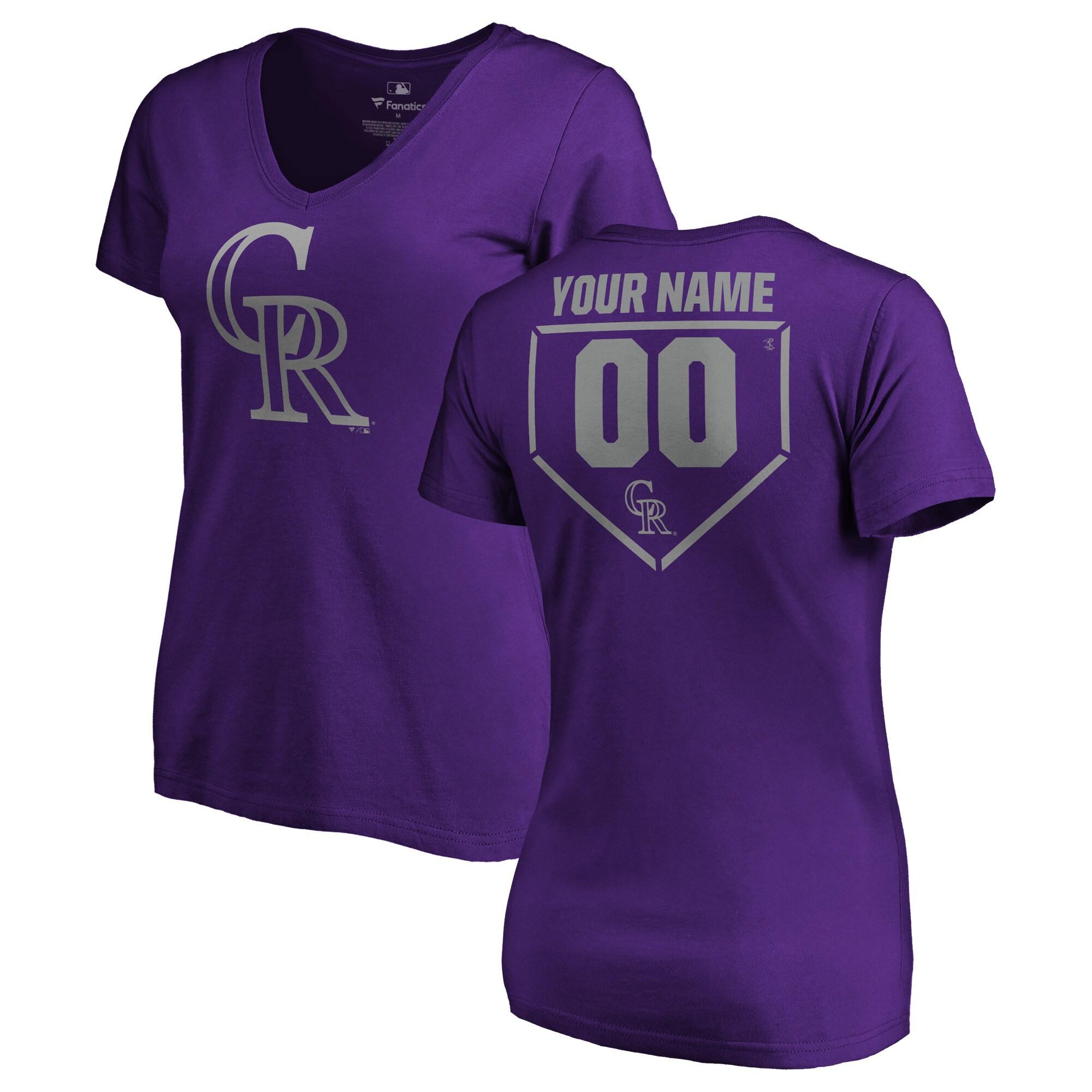 Colorado Rockies Fanatics Branded Women's Personalized RBI Slim Fit V-Neck T-Shirt - Purple