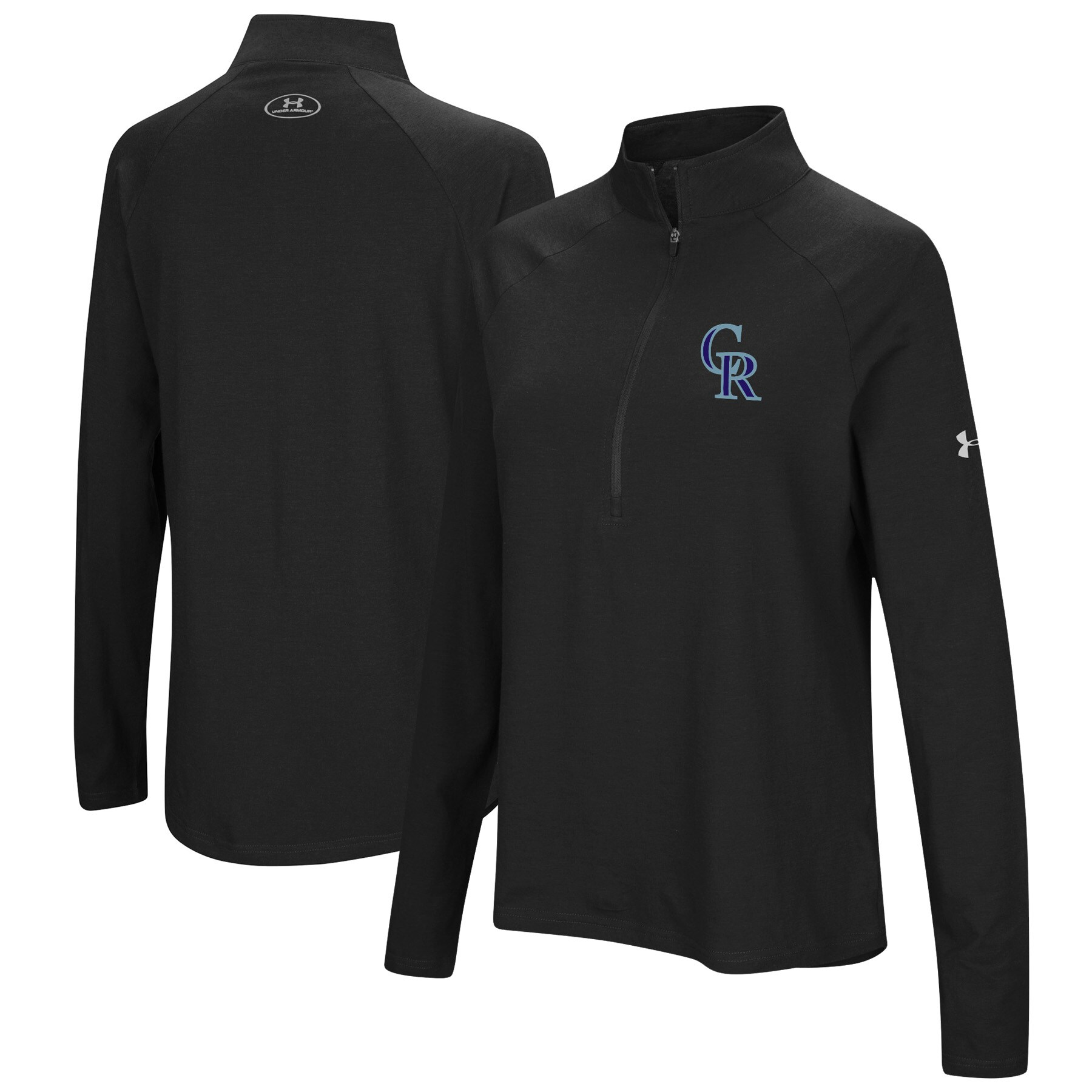 Colorado Rockies Under Armour Women's Passion Performance Tri-Blend Raglan Half-Zip Pullover Jacket - Black