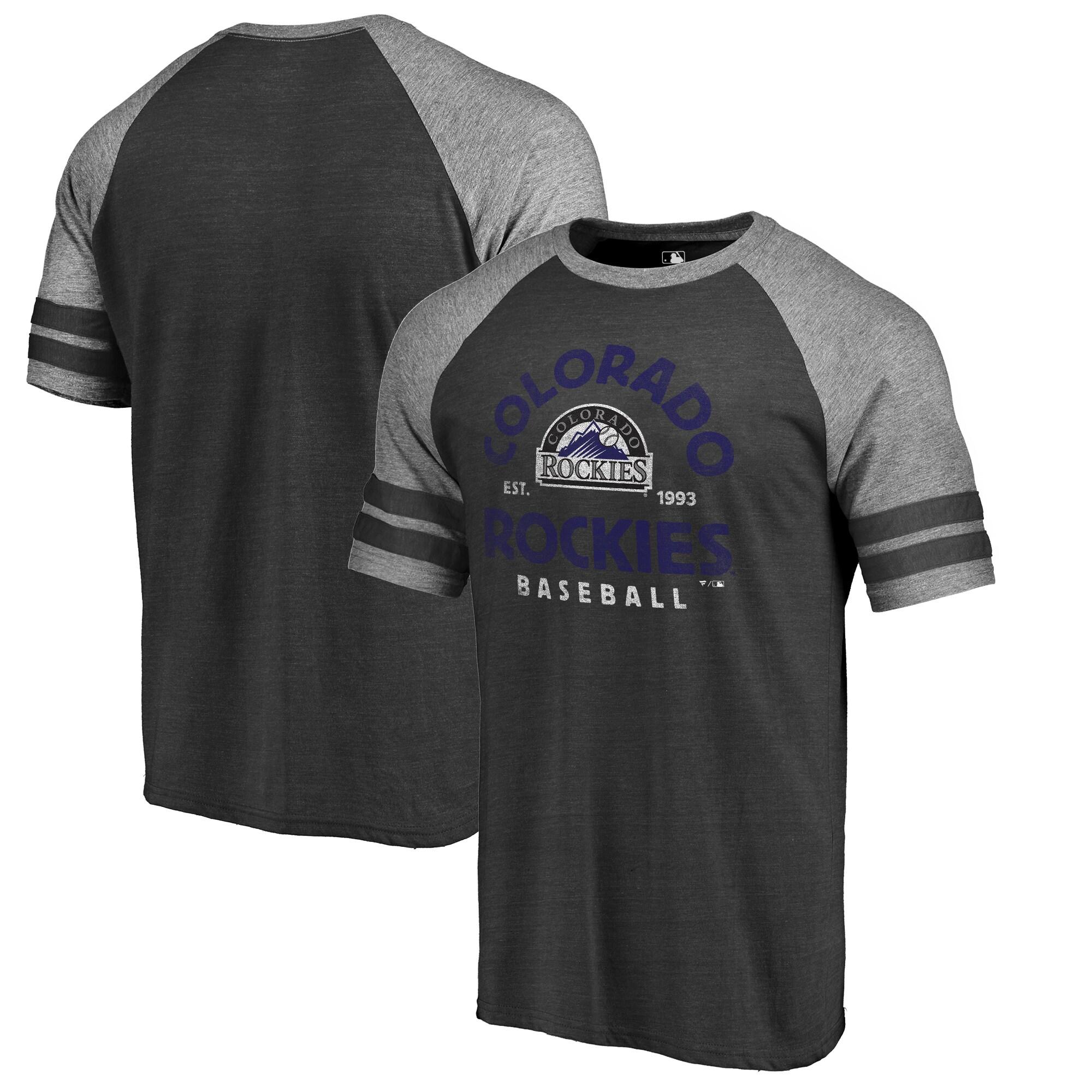 Colorado Rockies Fanatics Branded Cooperstown Collection Vintage Arch Tri-Blend Raglan T-Shirt - Black