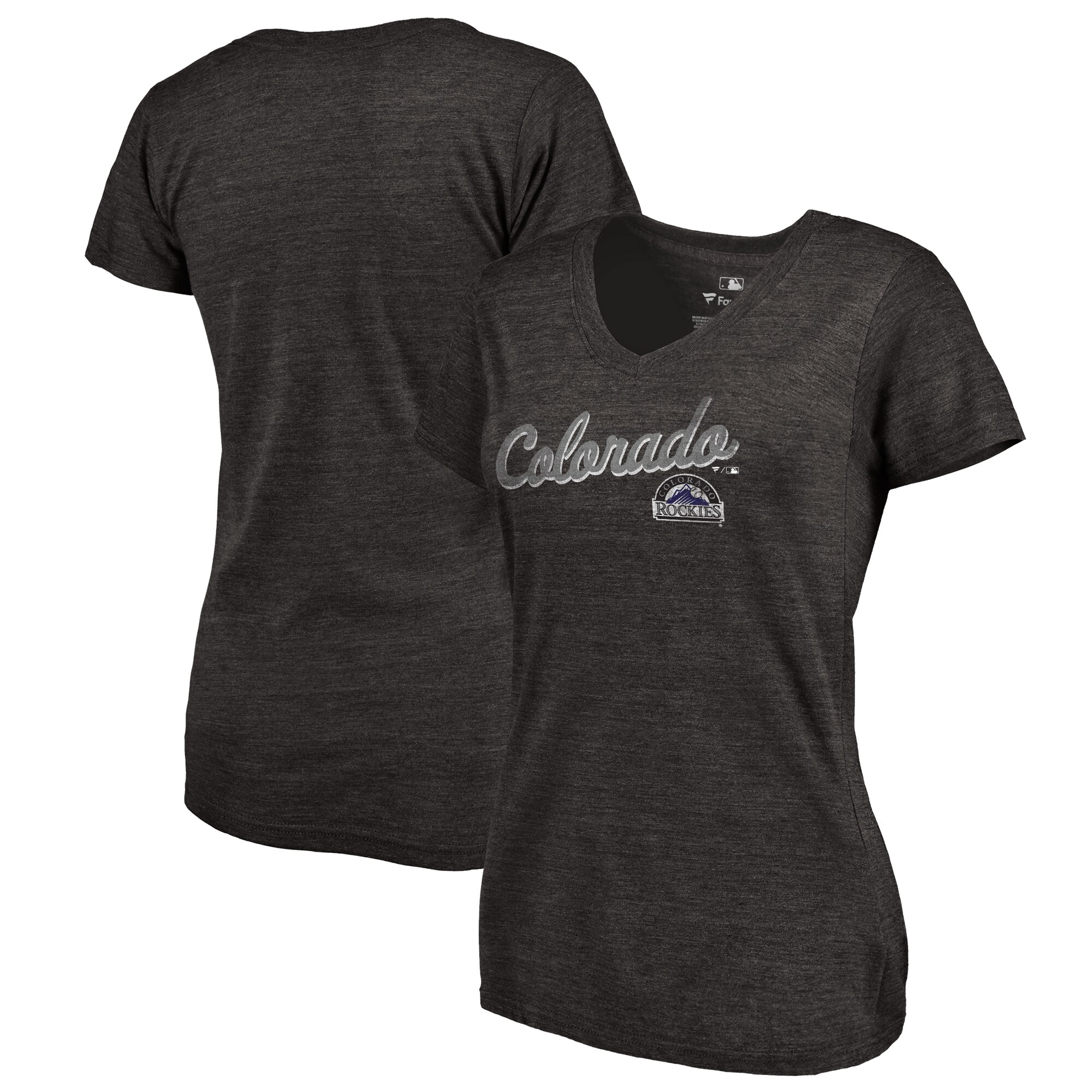 Colorado Rockies Fanatics Branded Women's Rising Script Tri-Blend V-Neck T-Shirt - Black