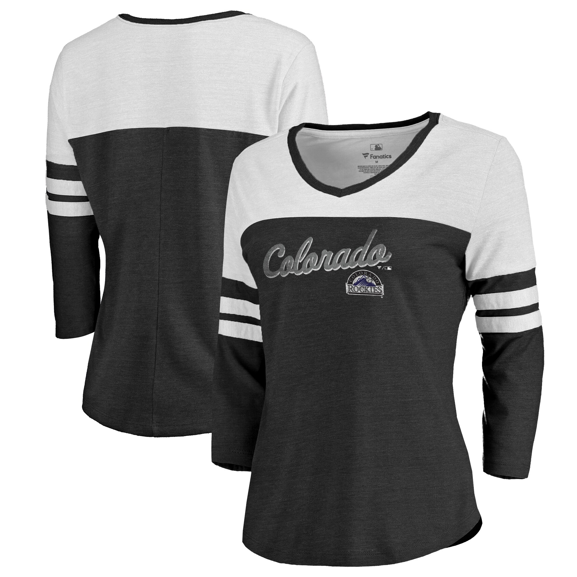 Fanatics Branded Colorado Rockies Women's Black Rising Script Color Block 3/4 Sleeve Tri-Blend T-Shirt