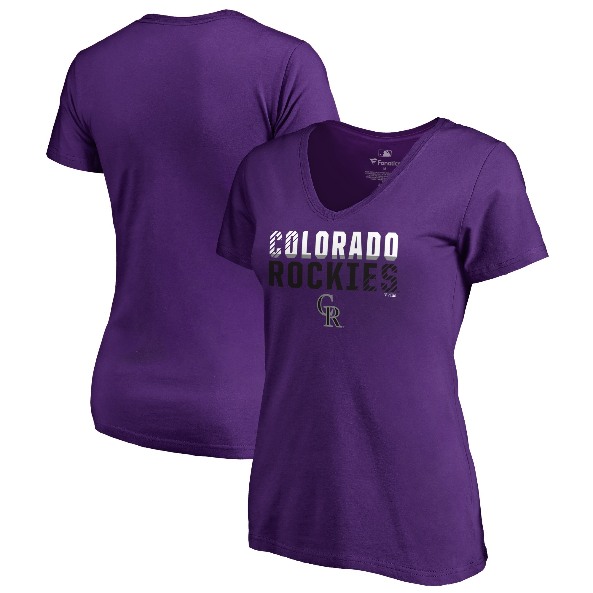 Colorado Rockies Fanatics Branded Women's Fade Out Plus Size V-Neck T-Shirt - Purple