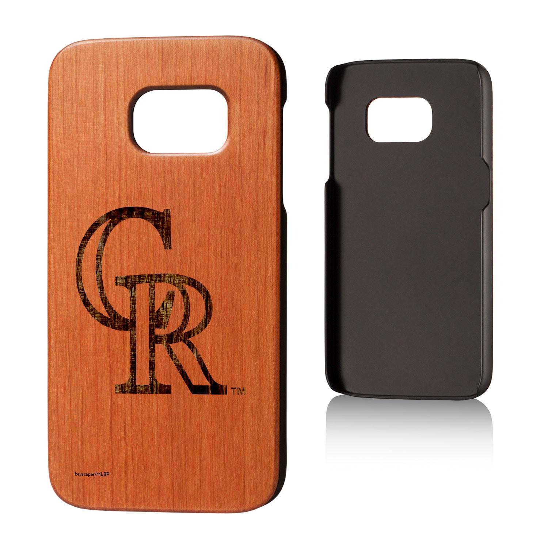 Colorado Rockies Galaxy S7 Branded Logo Cherry Wood Case