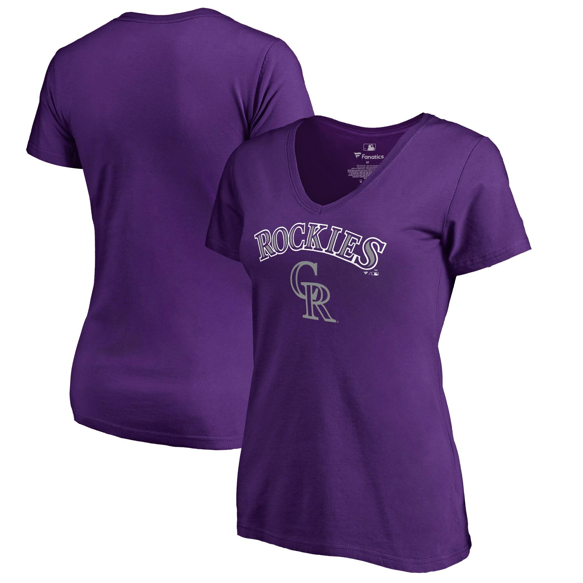 Colorado Rockies Fanatics Branded Women's Plus Sizes Team Lockup T-Shirt - Purple