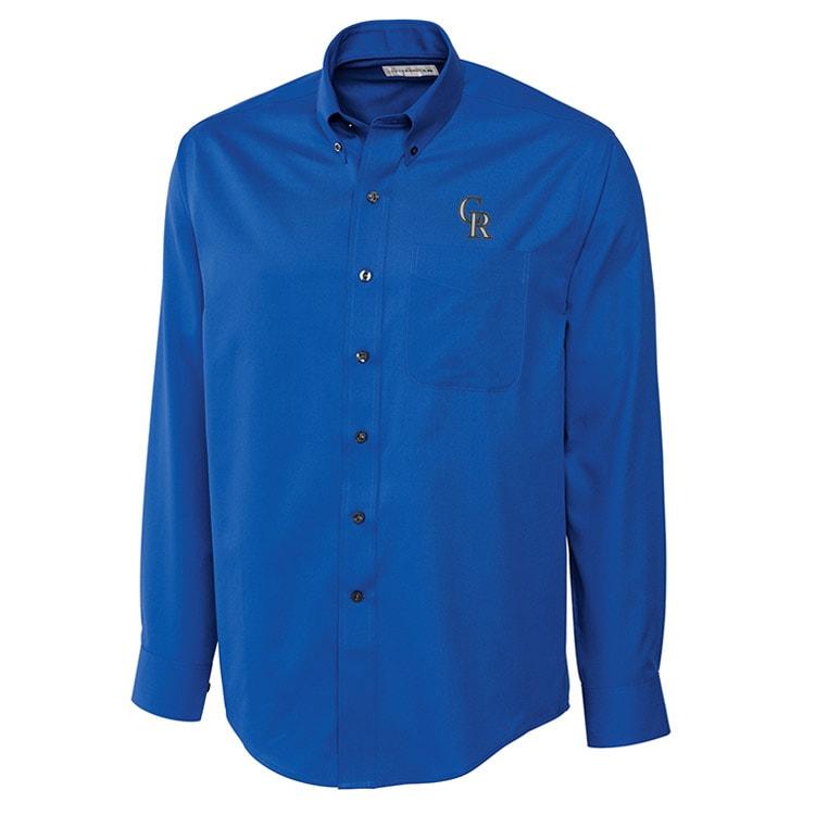 Colorado Rockies Cutter & Buck Big & Tall Epic Easy Care Fine Twill Long Sleeve Shirt - Royal