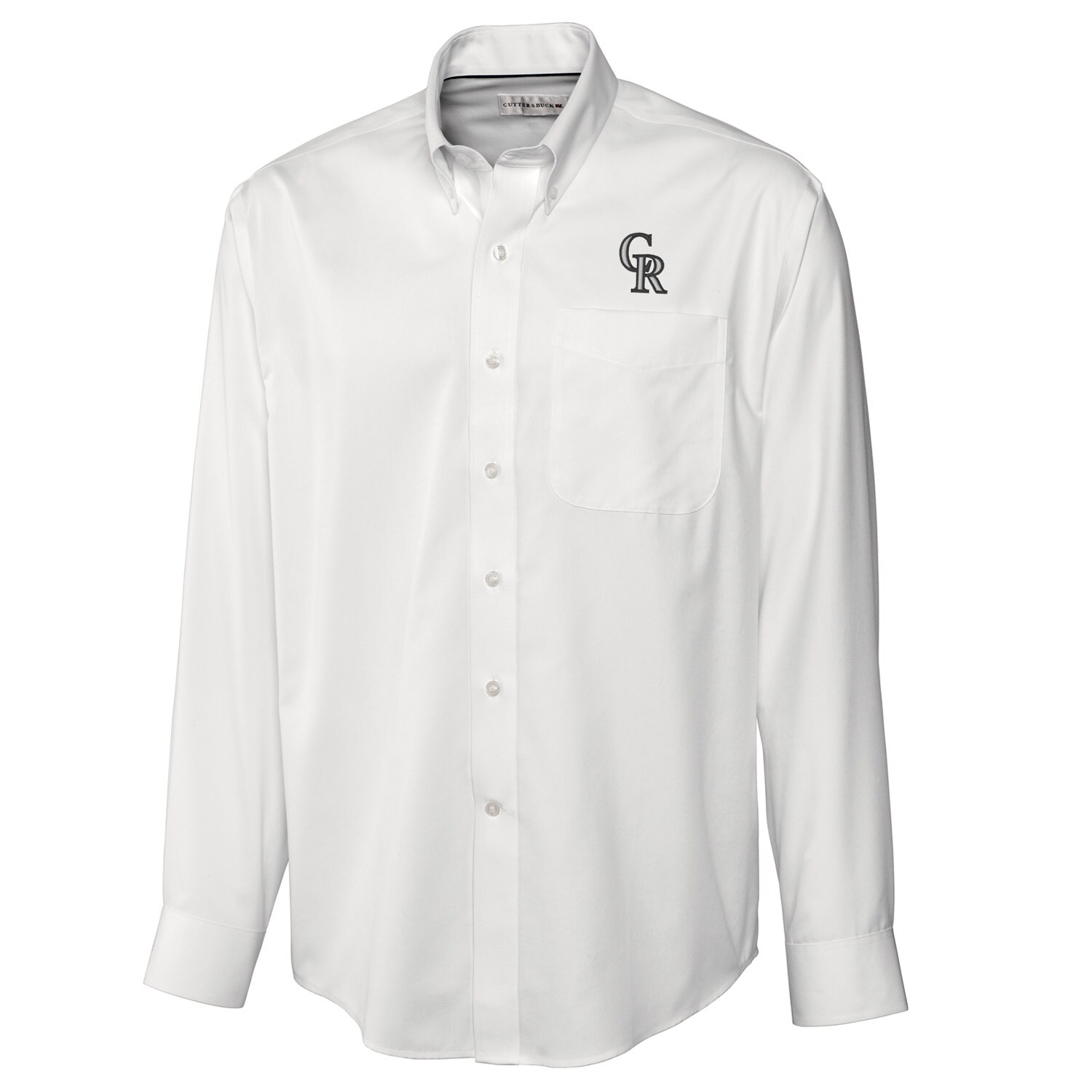 Colorado Rockies Cutter & Buck Big & Tall Epic Easy Care Fine Twill Long Sleeve Shirt - White