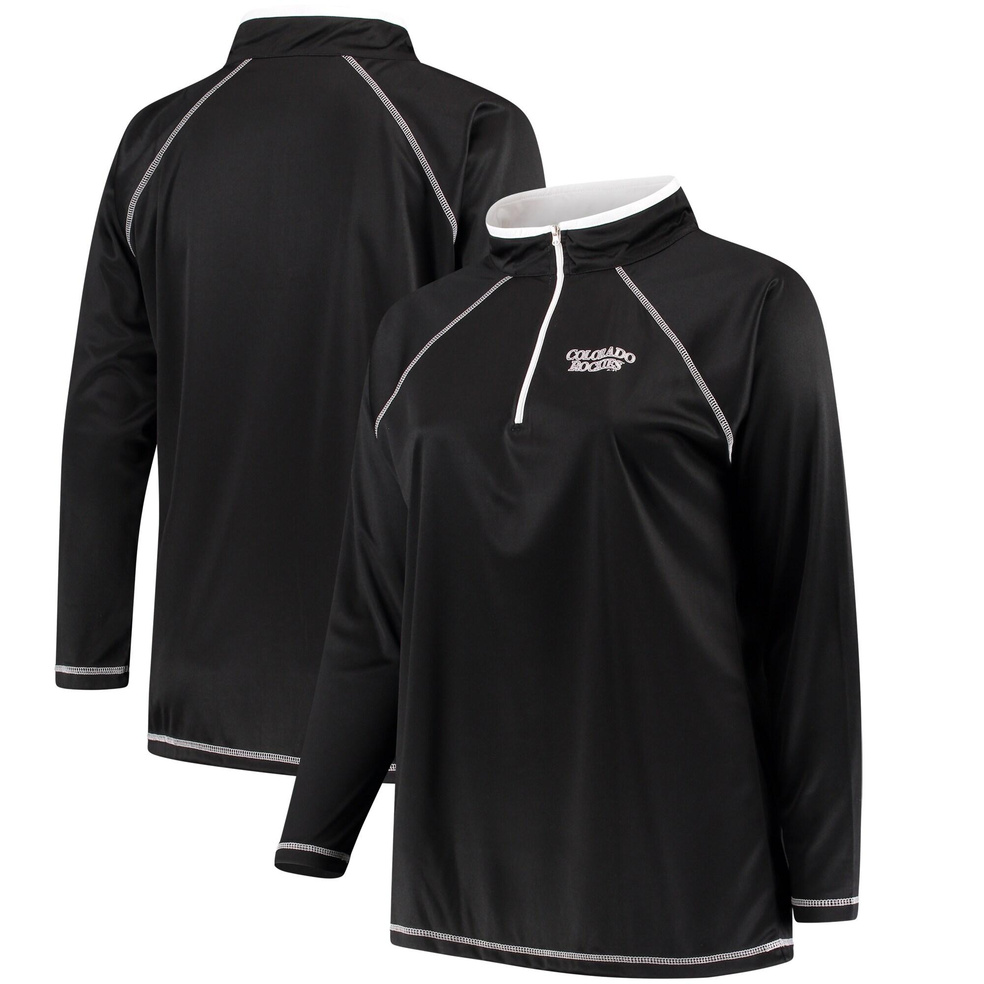Colorado Rockies Majestic Women's Plus Size Quarter-Zip Pullover Jacket - Black