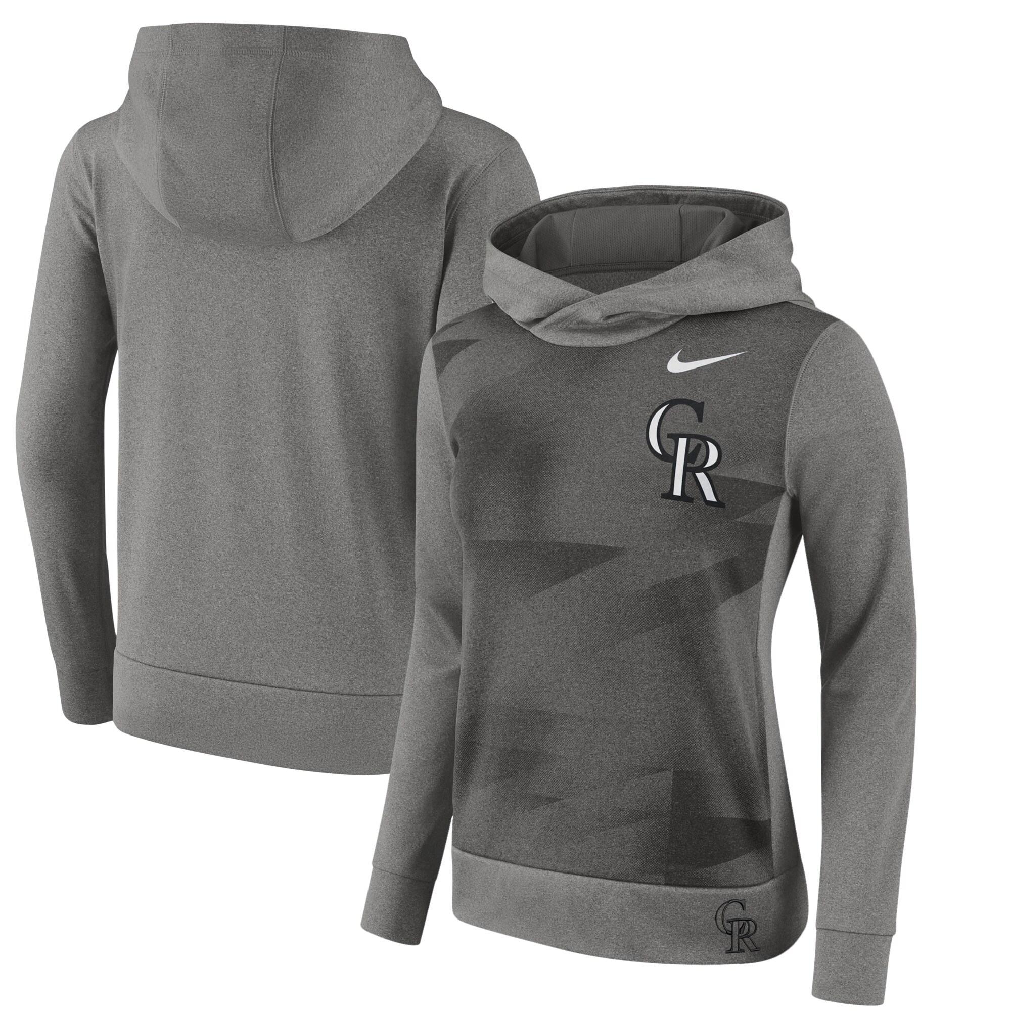 Colorado Rockies Nike Women's Performance Pullover Hoodie - Gray
