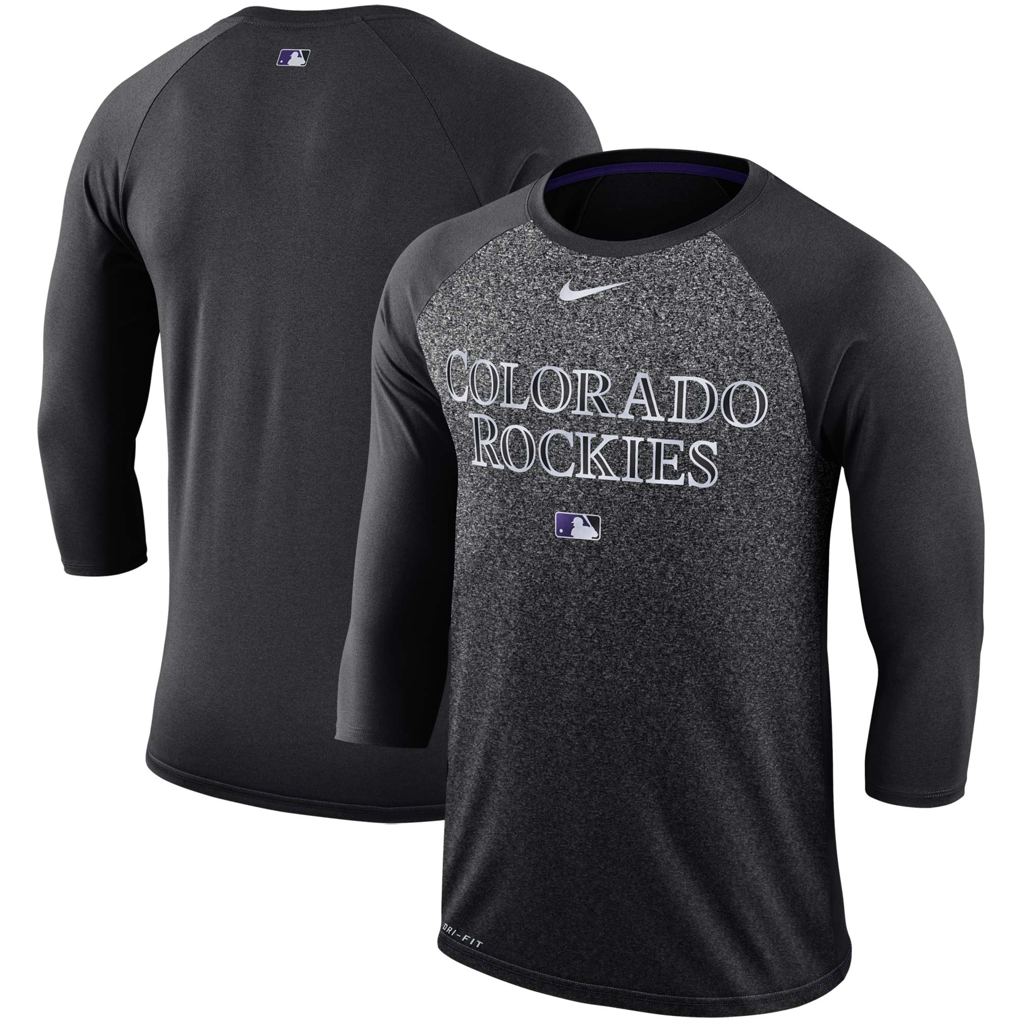 Colorado Rockies Nike Authentic Collection Legend 3/4-Sleeve Raglan Performance T-Shirt - Black