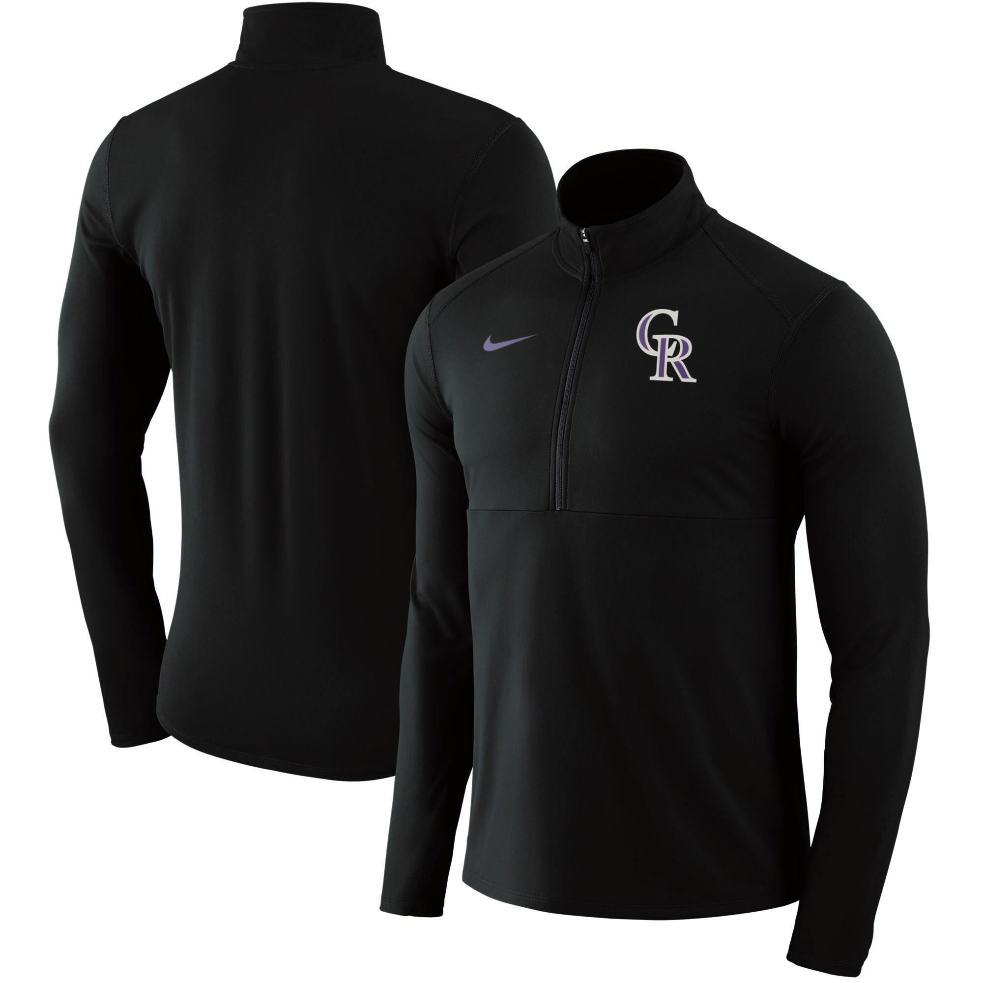 Colorado Rockies Nike Dry Element Half-Zip Performance Pullover - Black