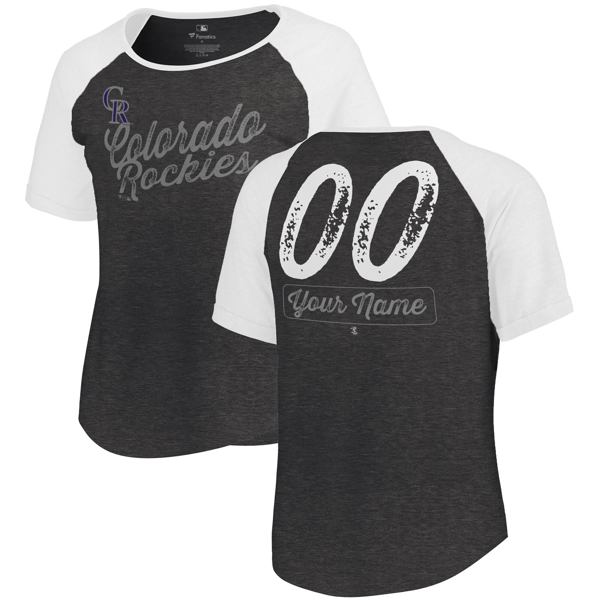 Colorado Rockies Fanatics Branded Women's Personalized Sideline Tri-Blend T-Shirt - Black