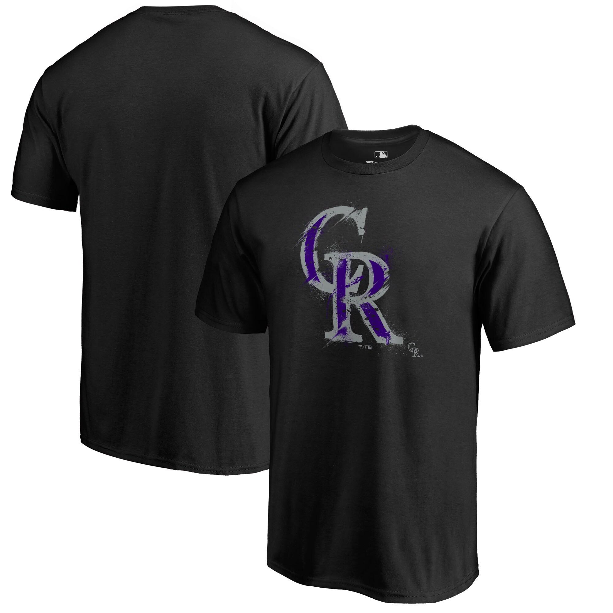Colorado Rockies Fanatics Branded Splatter Logo T-Shirt - Black