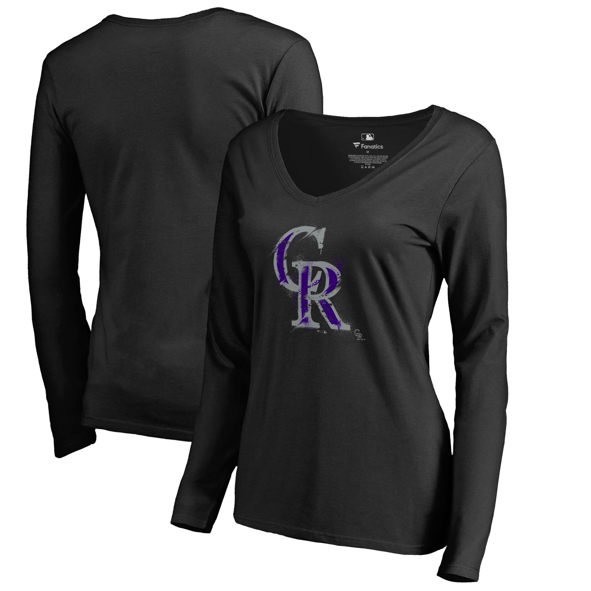 Colorado Rockies Fanatics Branded Women's Splatter Logo Long Sleeve V-Neck T-Shirt - Black
