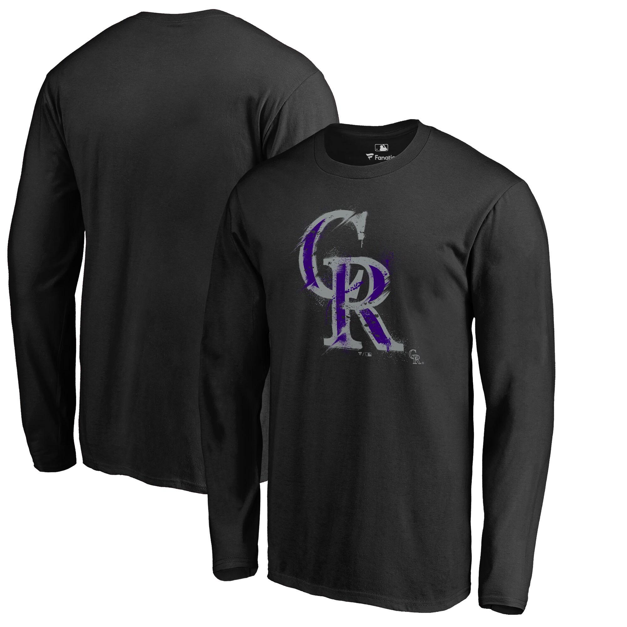 Colorado Rockies Fanatics Branded Splatter Logo Long Sleeve T-Shirt - Black