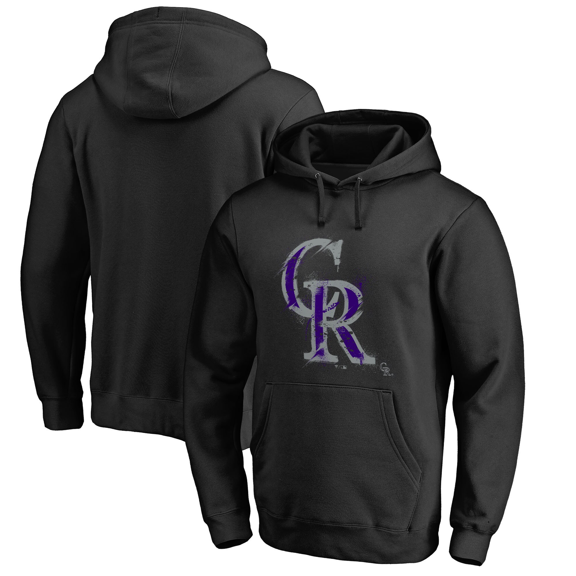 Colorado Rockies Fanatics Branded Splatter Logo Pullover Hoodie - Black