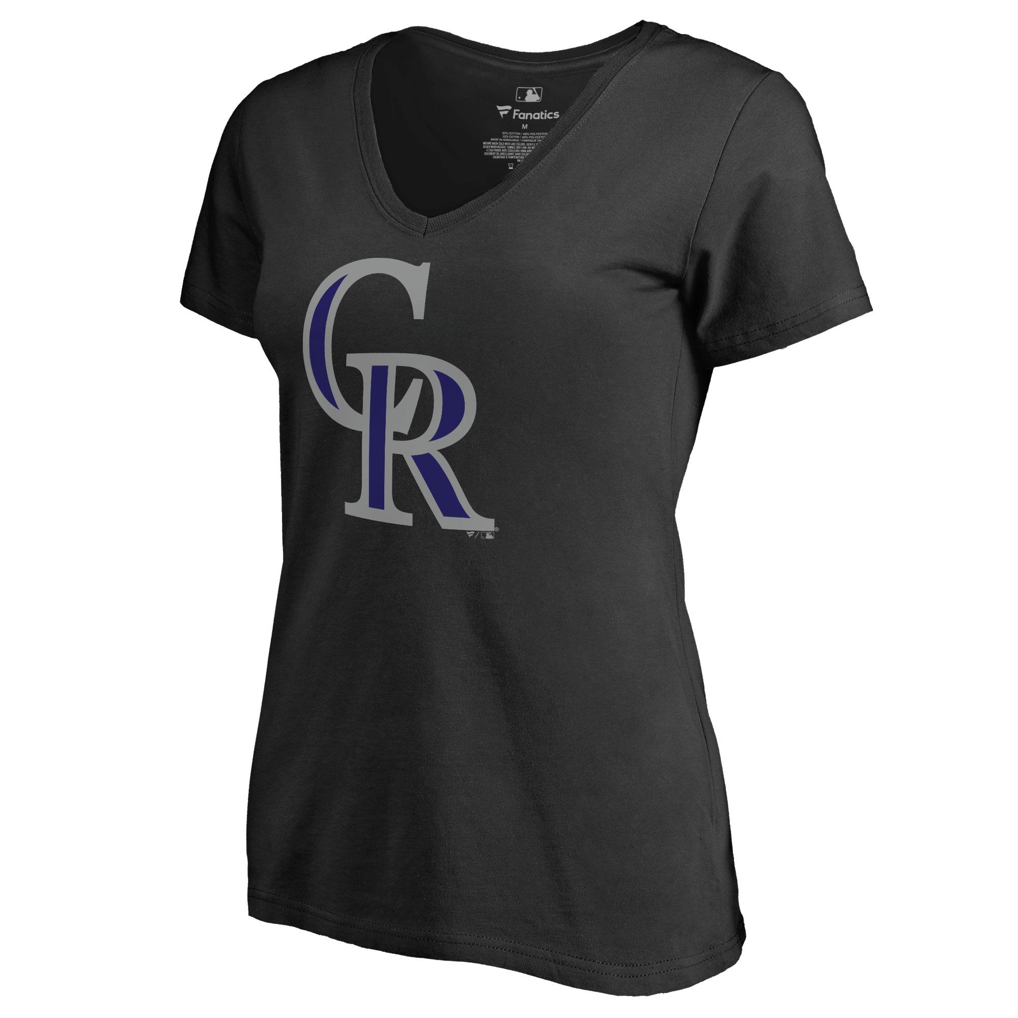 Colorado Rockies Women's Team Color Primary Logo V-Neck T-Shirt - Black