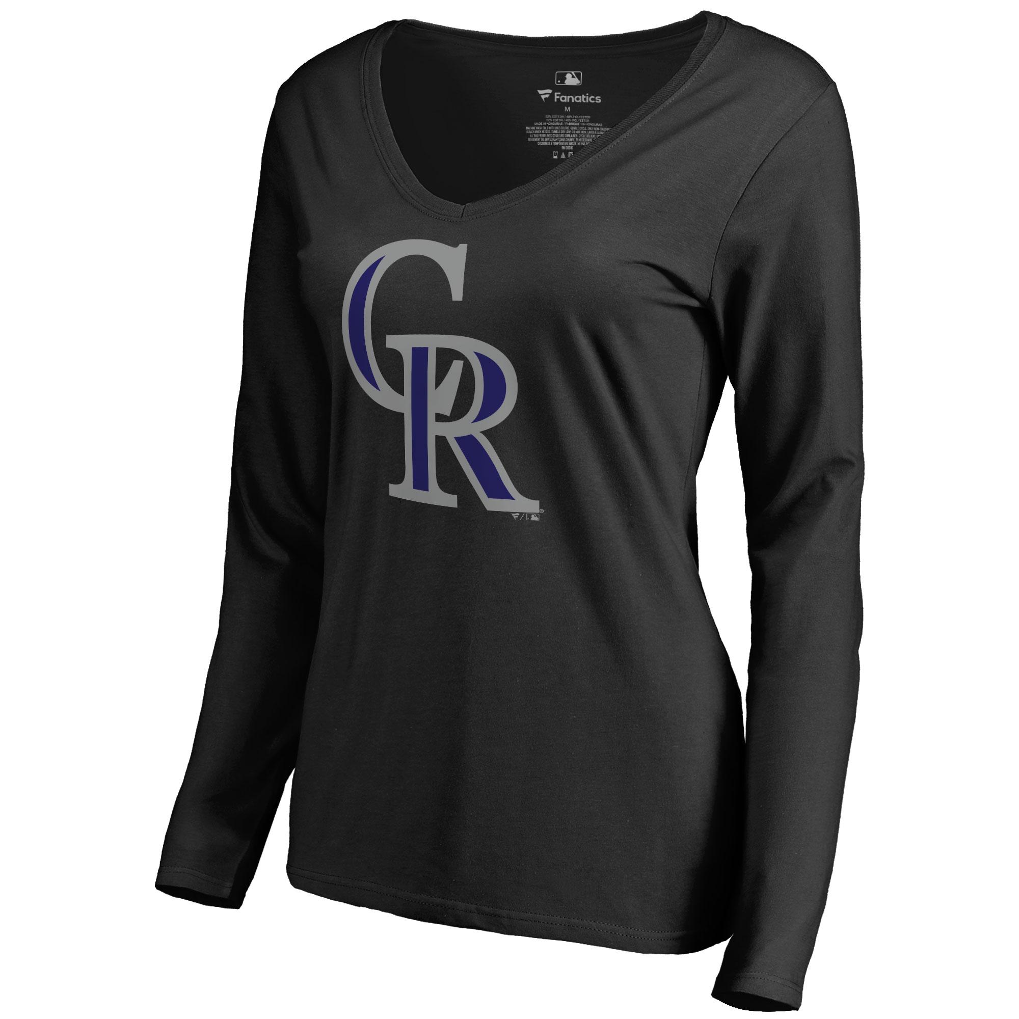Colorado Rockies Women's Team Color Primary Logo V-Neck Long Sleeve T-Shirt - Black