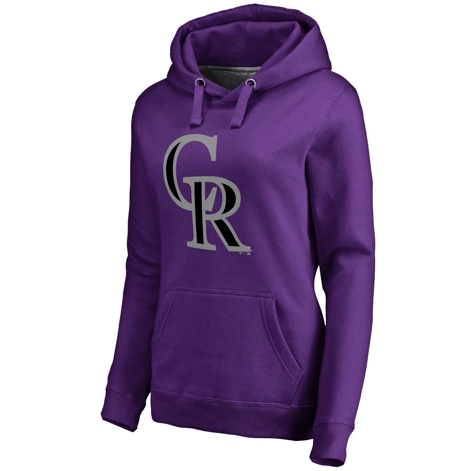 Colorado Rockies Women's Secondary Color Primary Logo Pullover Hoodie - Purple