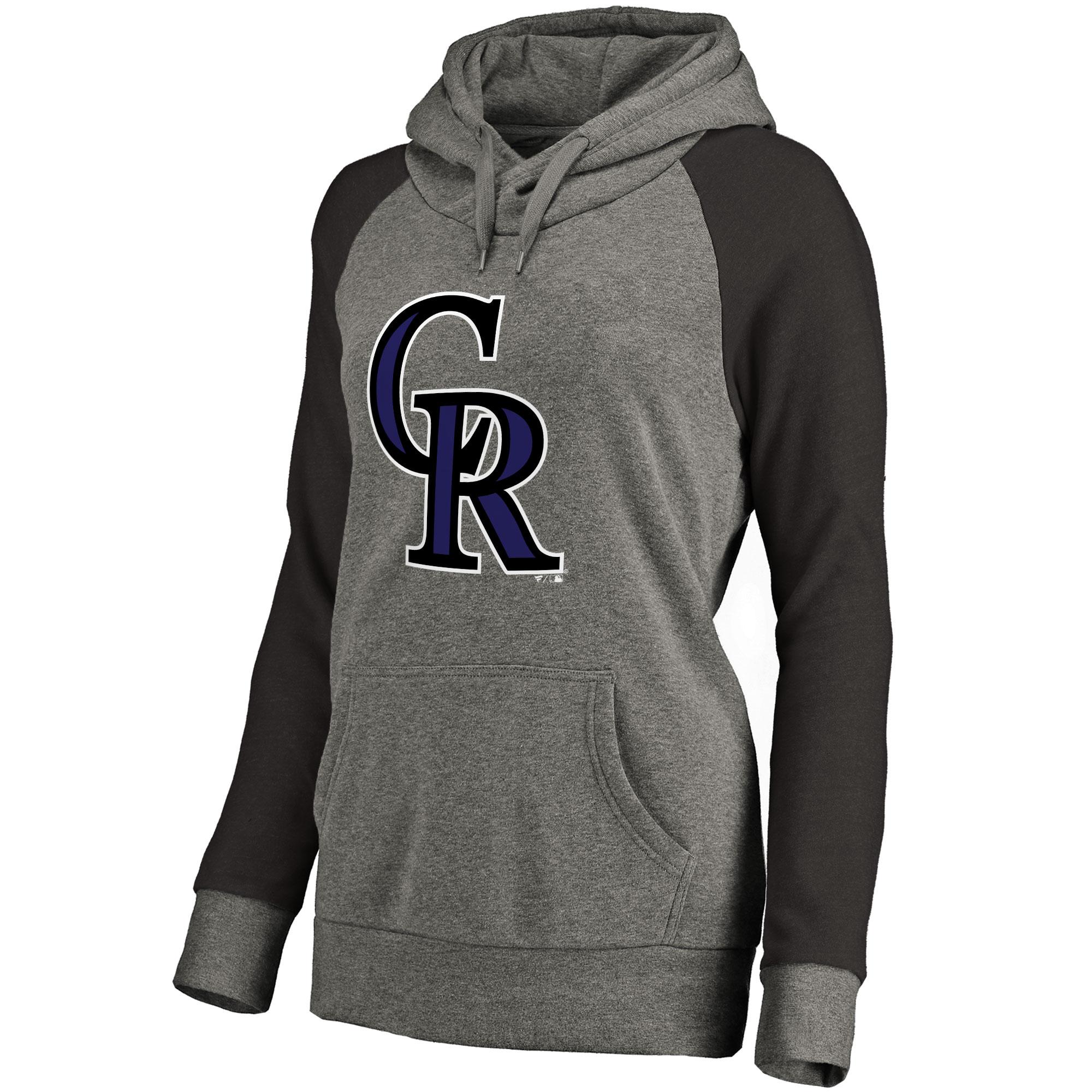 Colorado Rockies Women's Primary Logo Raglan Sleeve Tri-Blend Pullover Hoodie - Ash