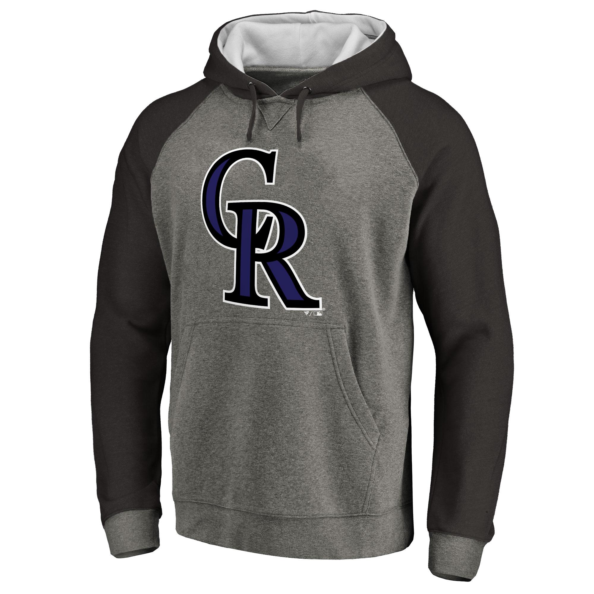 Colorado Rockies Primary Logo Raglan Sleeve Tri-Blend Pullover Hoodie - Ash