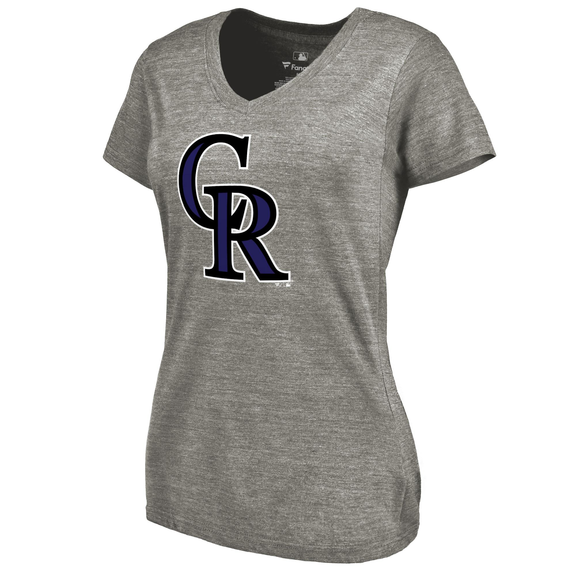 Colorado Rockies Women's Primary Logo Tri-Blend V-Neck T-Shirt - Ash
