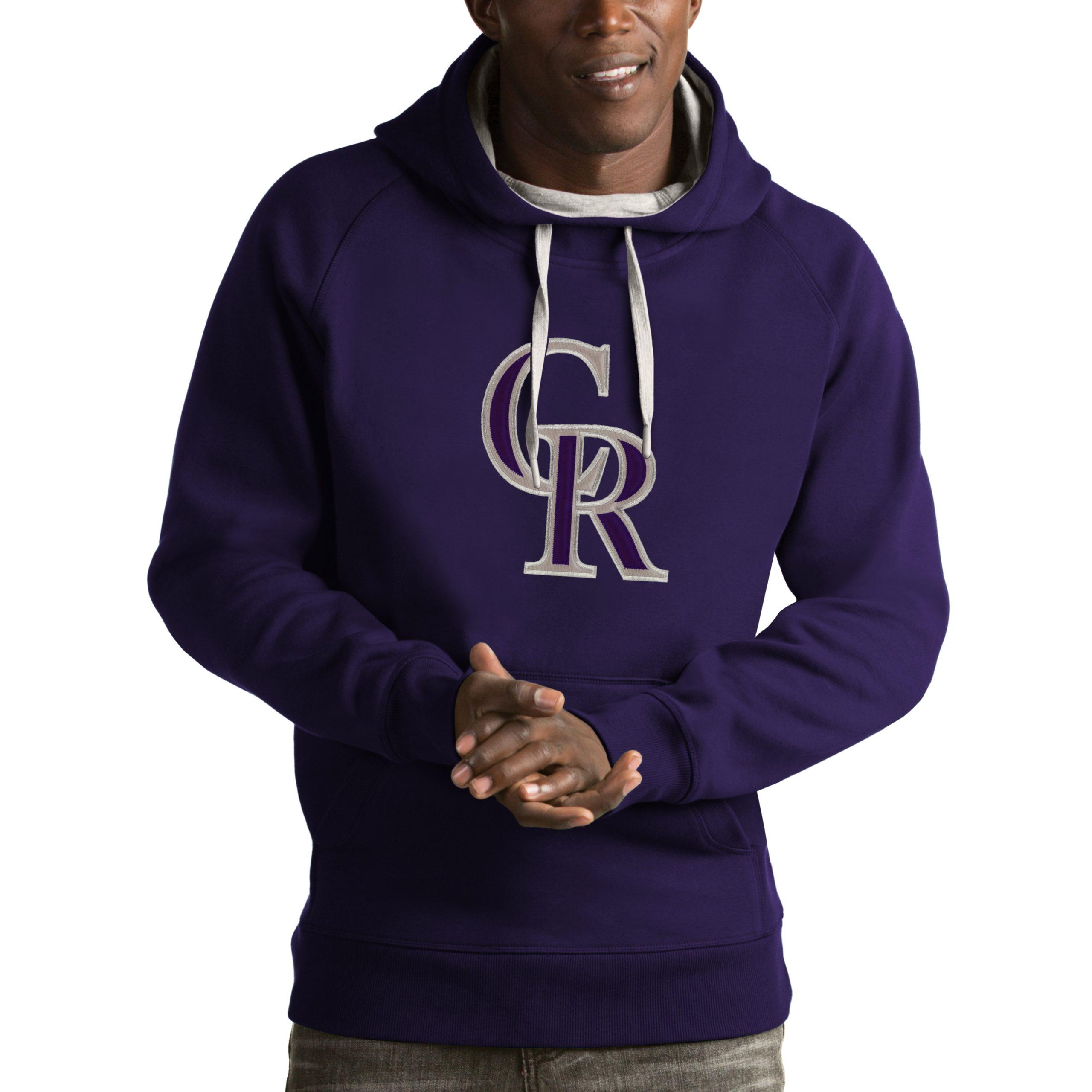Colorado Rockies Antigua Victory Pullover Hoodie - Purple