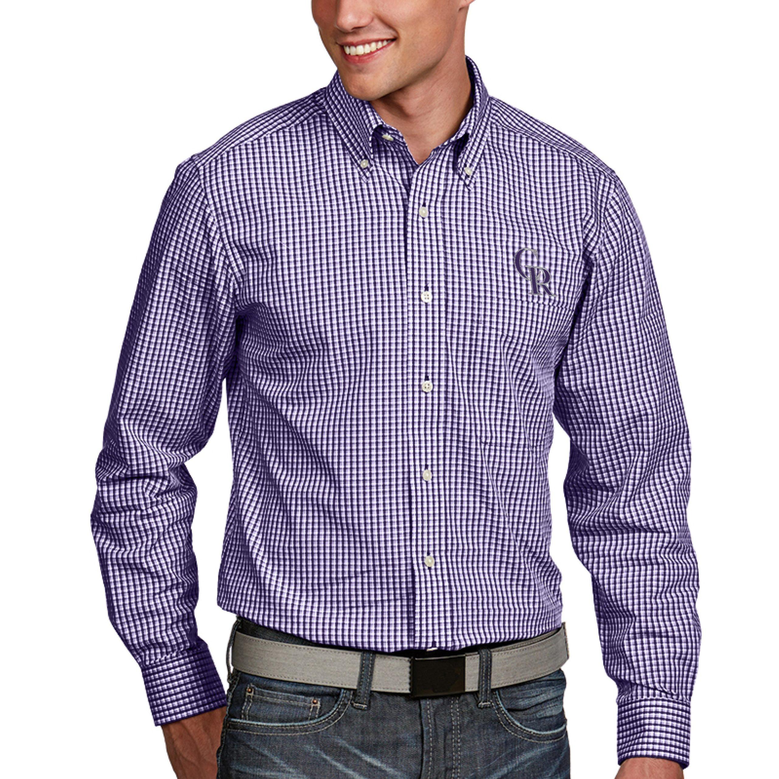 Colorado Rockies Antigua Associate Button-Down Dress Long Sleeve Shirt - Purple