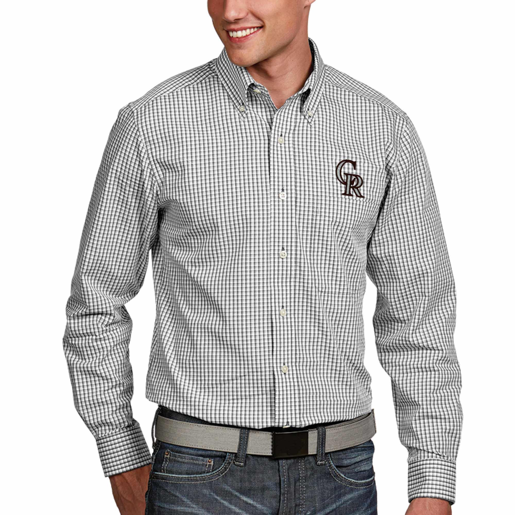 Colorado Rockies Antigua Associate Button-Down Dress Long Sleeve Shirt - White