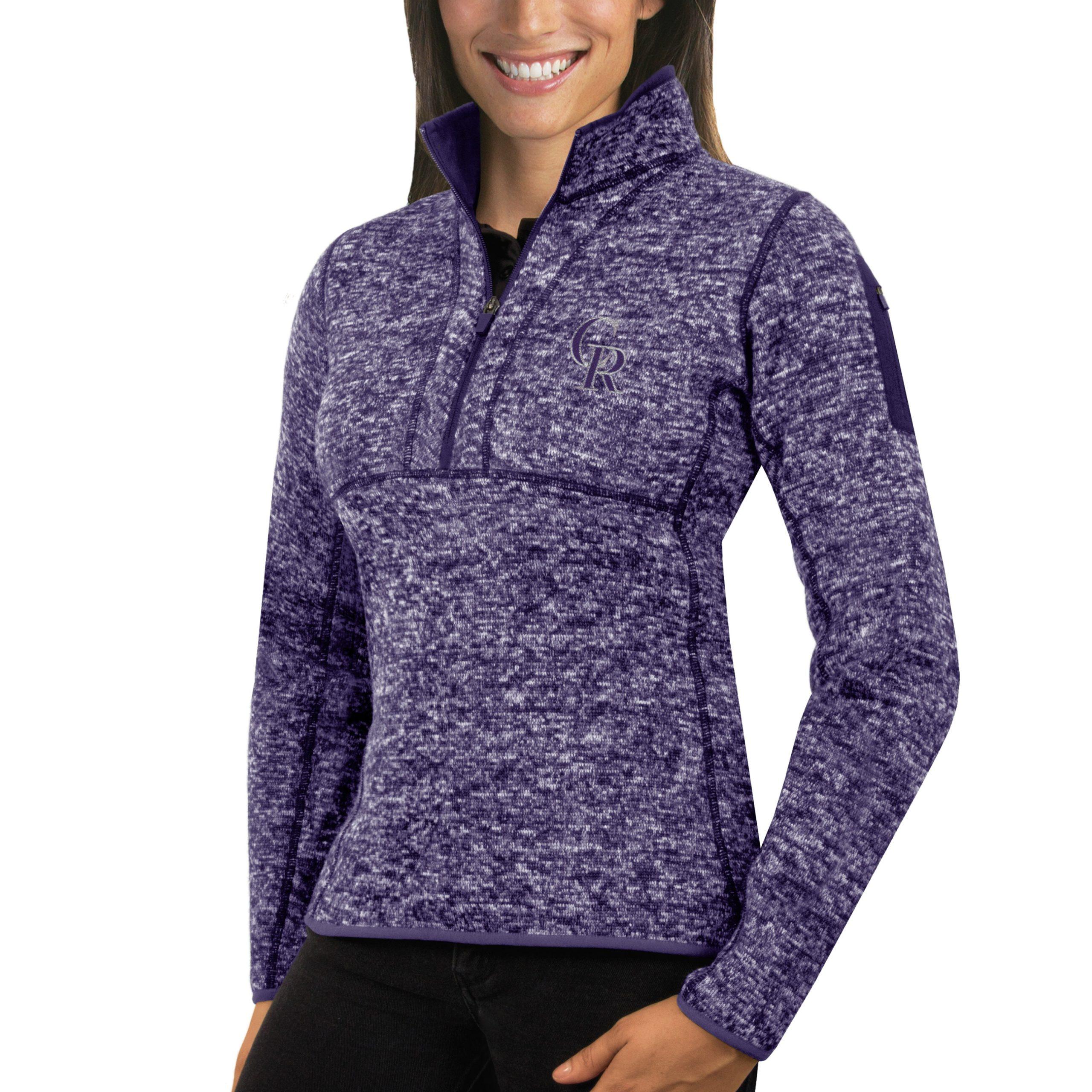 Colorado Rockies Antigua Women's Fortune Half-Zip Pullover Sweater - Heathered Purple