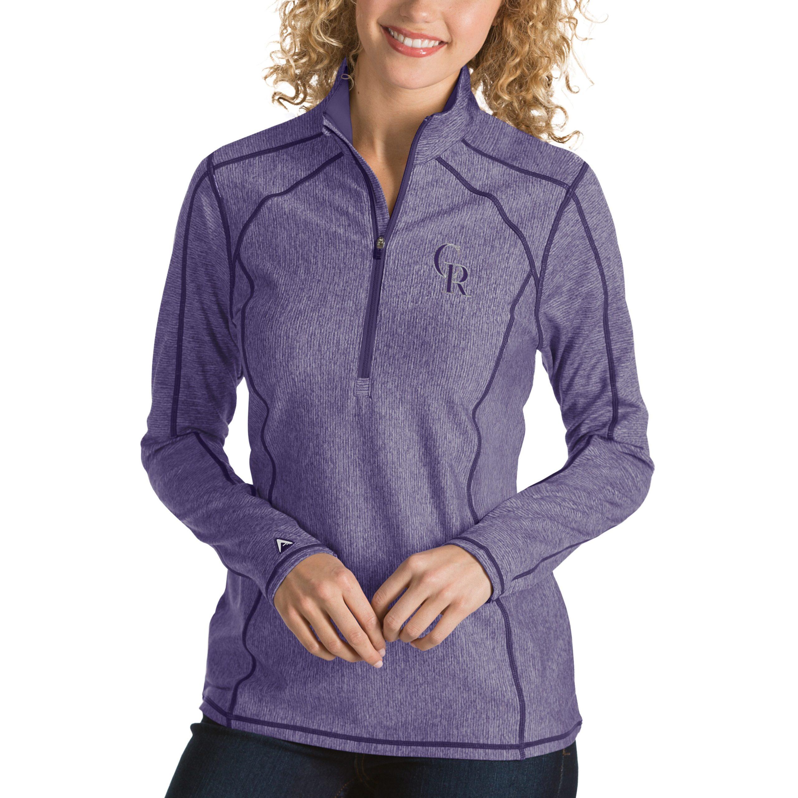 Colorado Rockies Antigua Women's Tempo Desert Dry 1/4-Zip Pullover Jacket - Heathered Purple