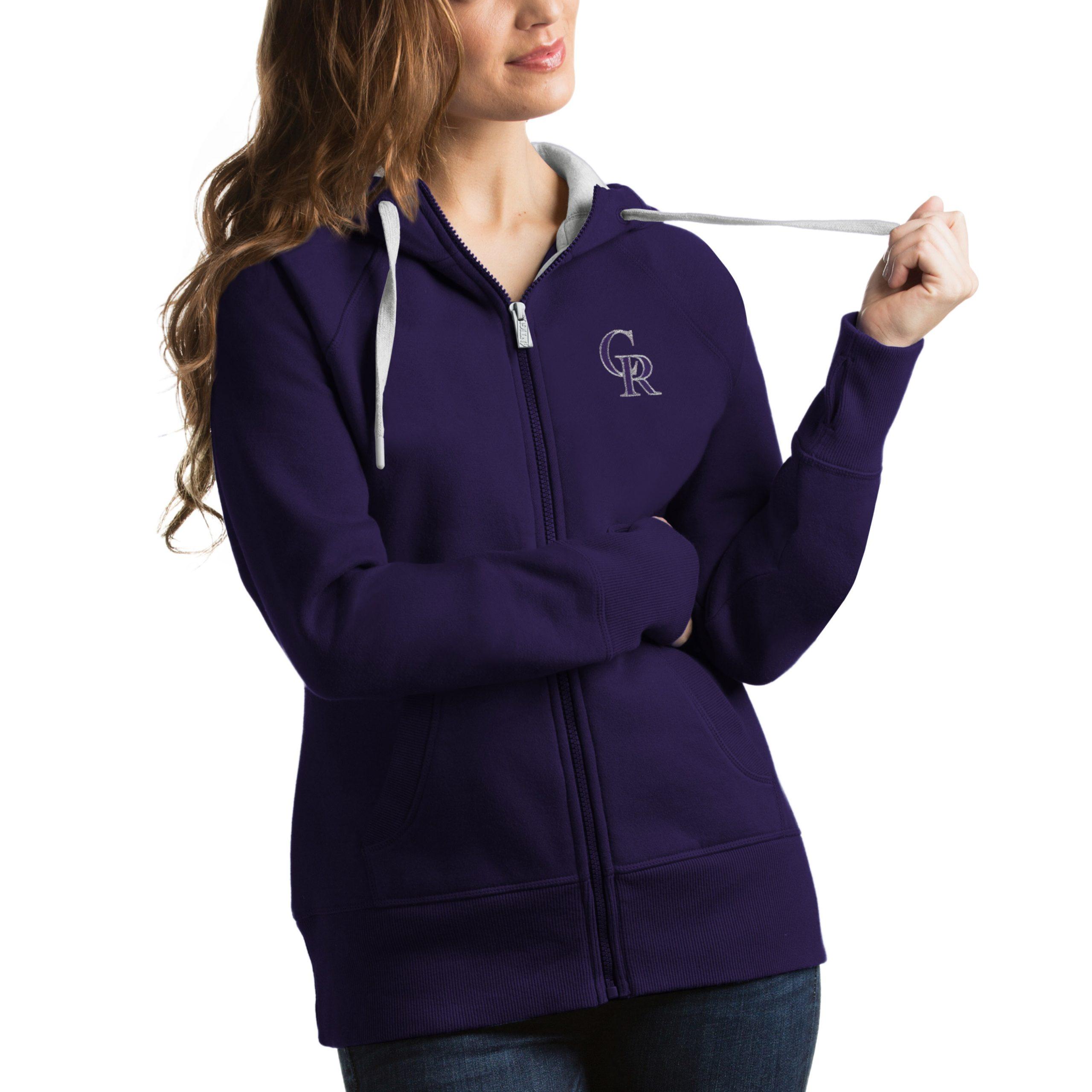 Colorado Rockies Antigua Women's Victory Full-Zip Hoodie - Purple
