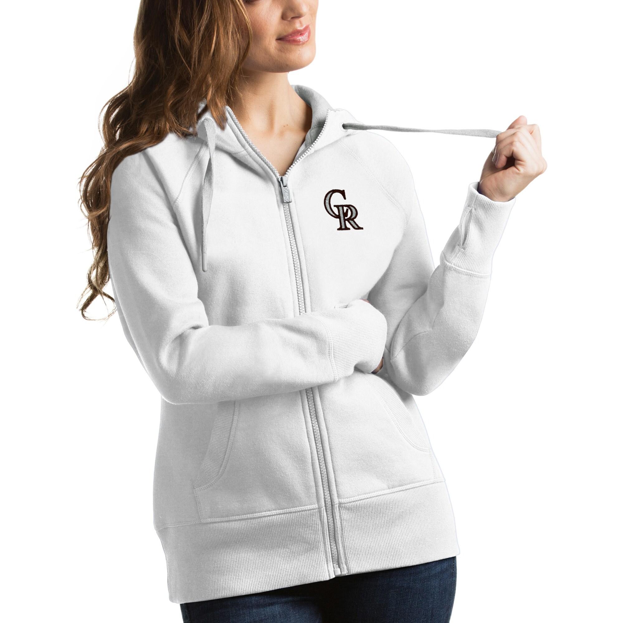Colorado Rockies Antigua Women's Victory Full-Zip Hoodie - White
