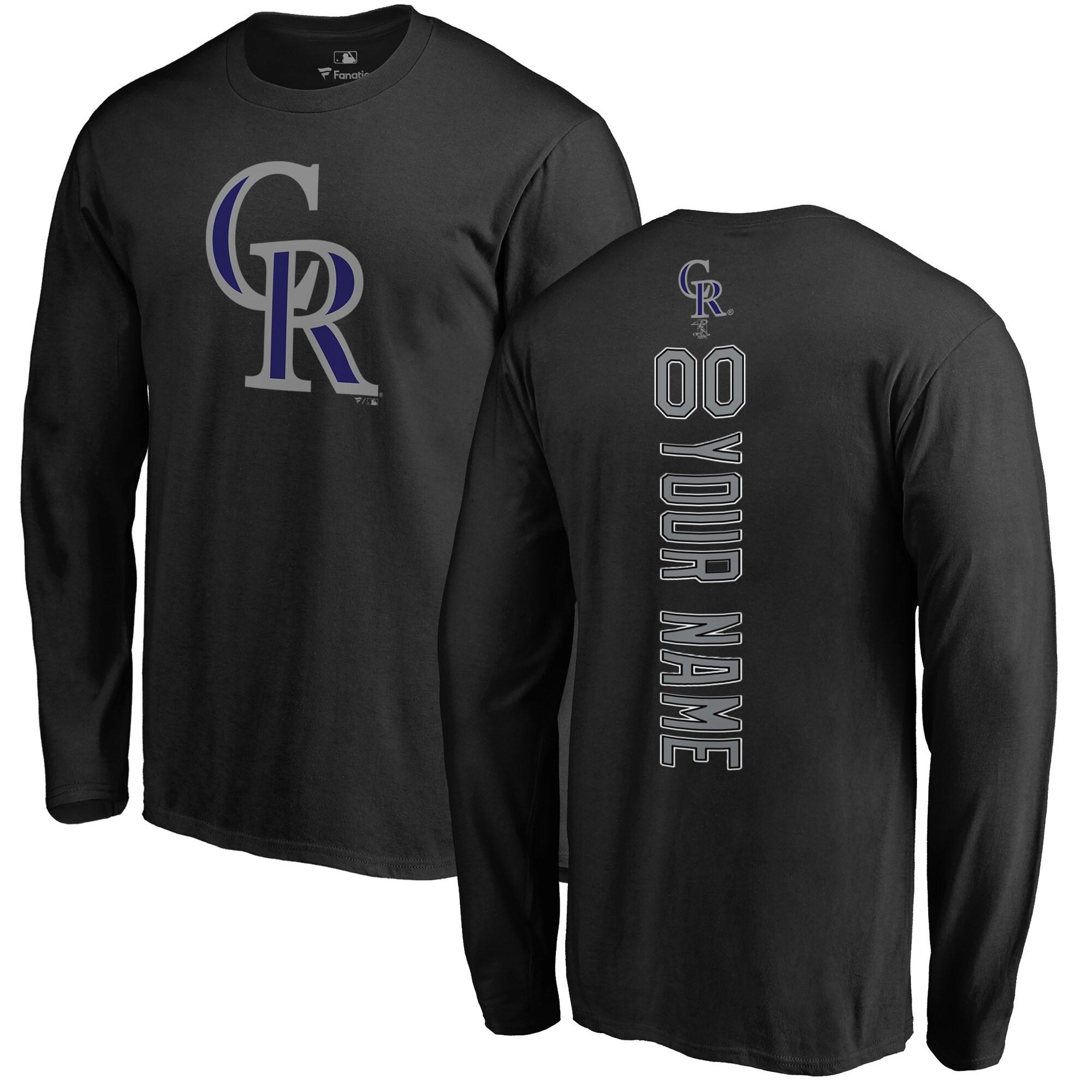 Colorado Rockies Fanatics Branded Personalized Playmaker Long Sleeve T-Shirt - Black
